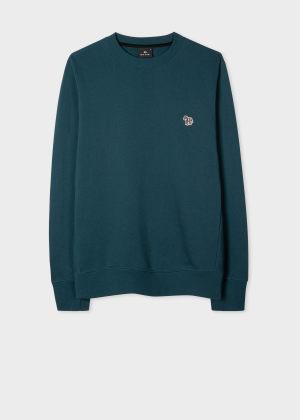 폴 스미스 Paul Smith Mens Petrol Blue Organic-Cotton Embroidered Zebra Logo Sweatshirt