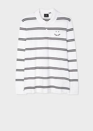 폴 스미스 Paul Smith Mens White And Black Stripe Happy Polo Shirt