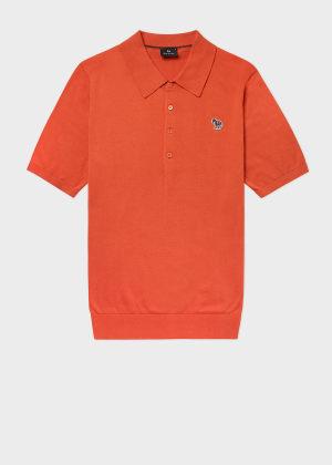 폴 스미스 Paul Smith Mens Burnt Orange Knitted Cotton Zebra Logo Polo Shirt