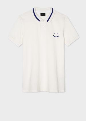 폴 스미스 Paul Smith Mens Slim-Fit White Happy Polo Shirt