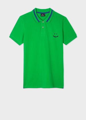 폴 스미스 Paul Smith Mens Slim-Fit Green Happy Polo Shirt