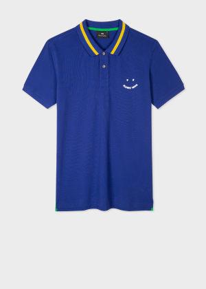 폴 스미스 Paul Smith Mens Slim-Fit Blue Happy Polo Shirt