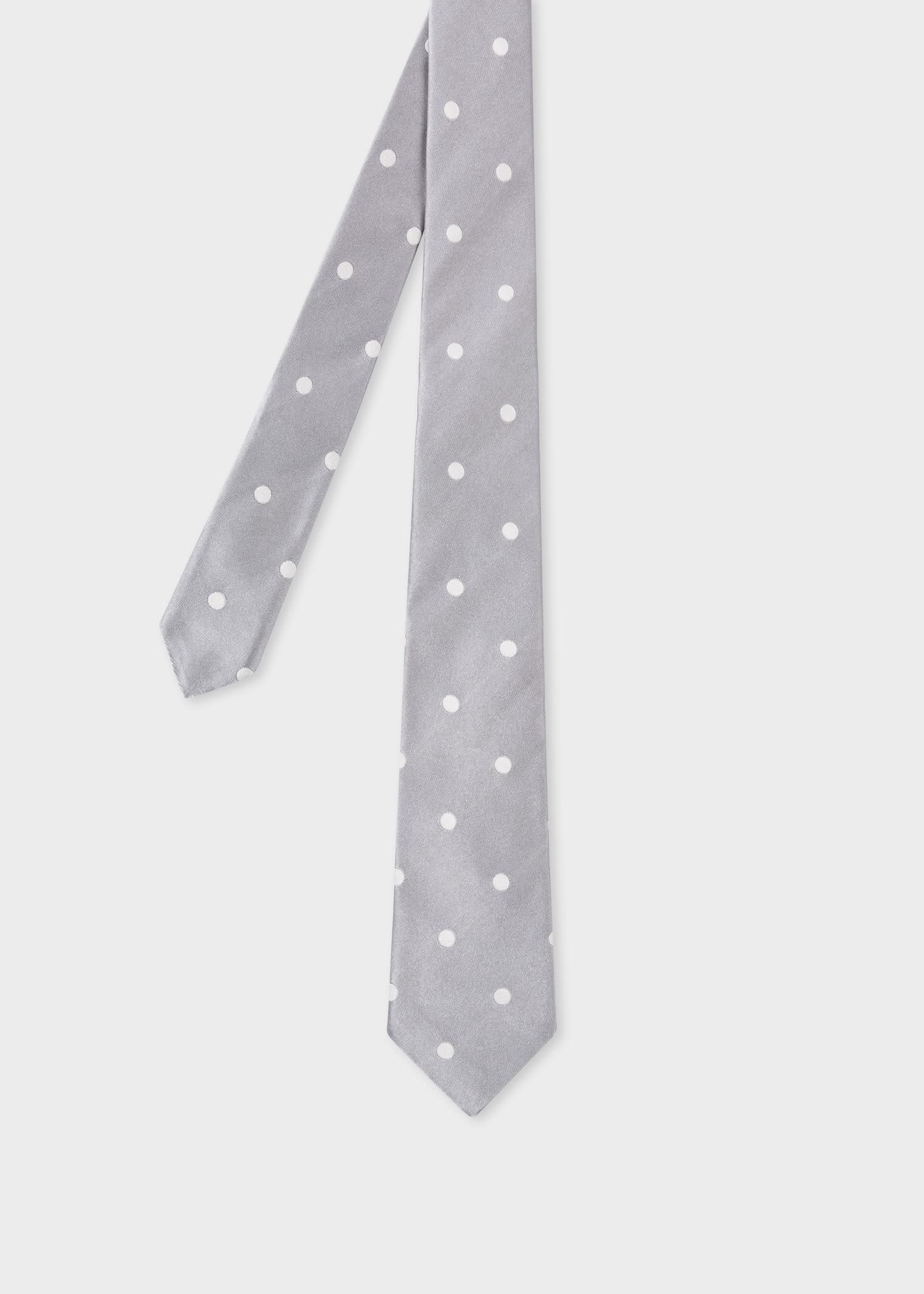 폴 스미스 Paul Smith Light Grey Silk Polka Dot Tie