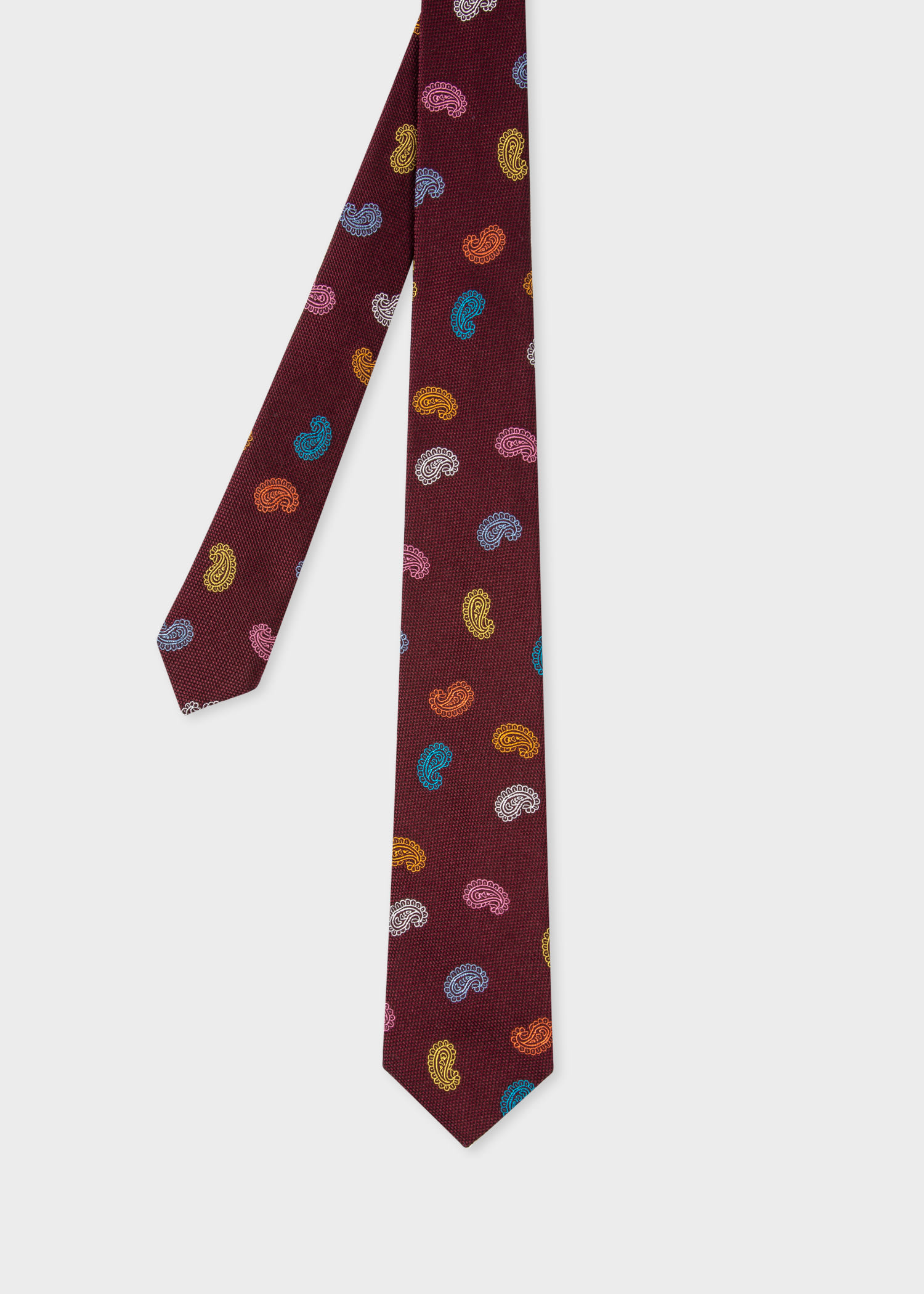 폴 스미스 Paul Smith Mens Burgundy Silk Paisley Tie