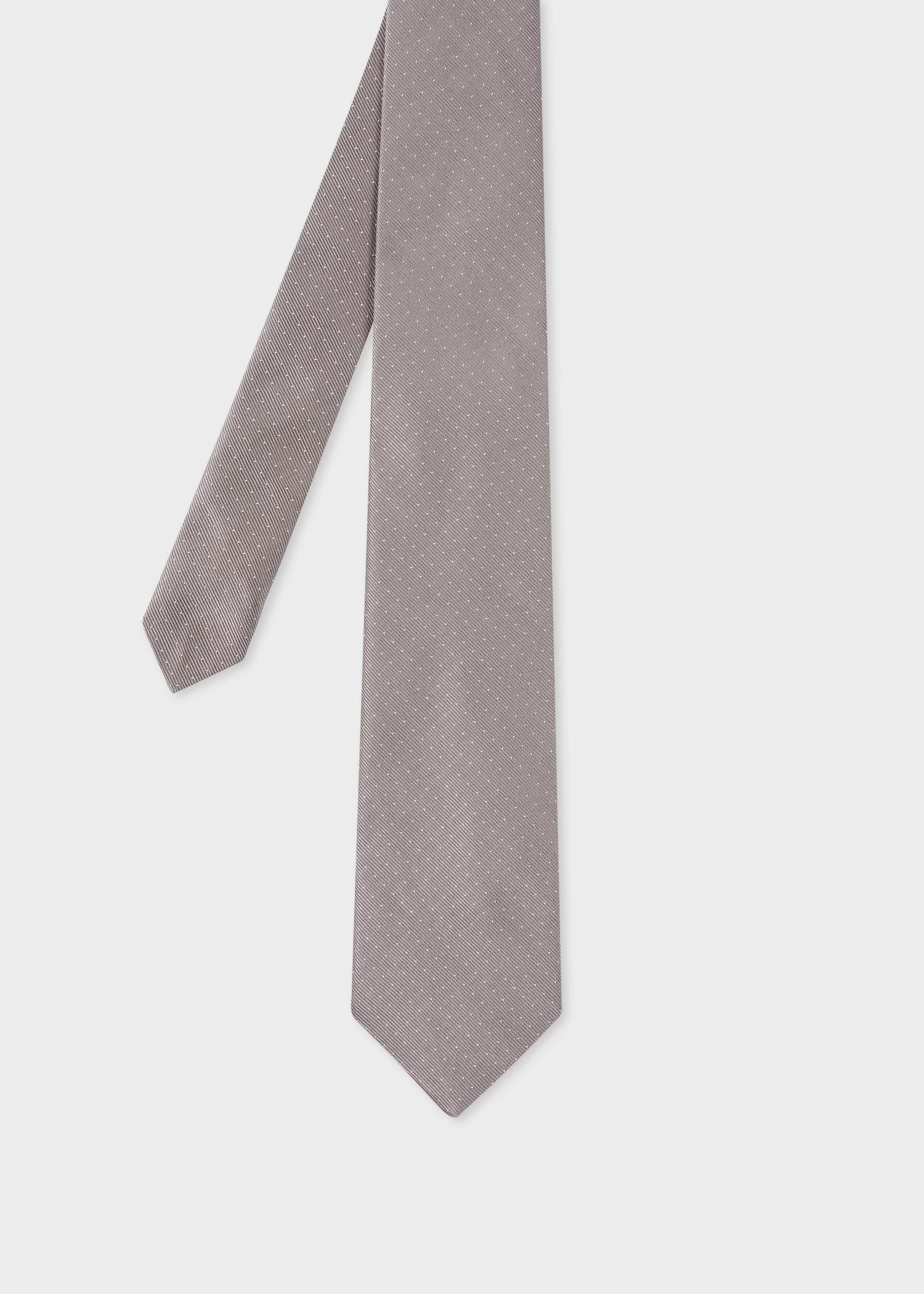 폴 스미스 Paul Smith Mens Grey Pin-Dot Silk Tie