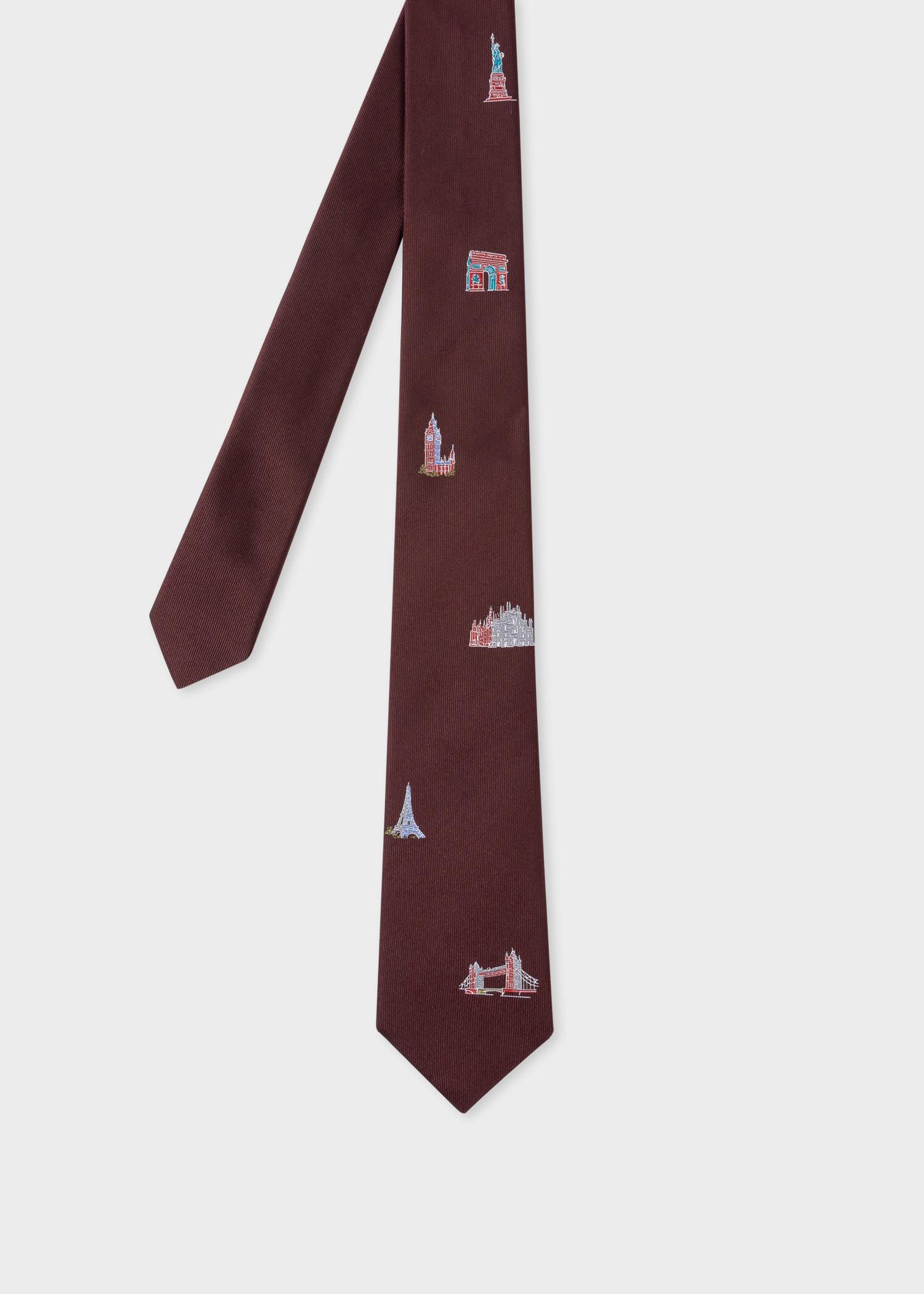 폴 스미스 Paul Smith Mens Burgundy Landmarks Silk Tie