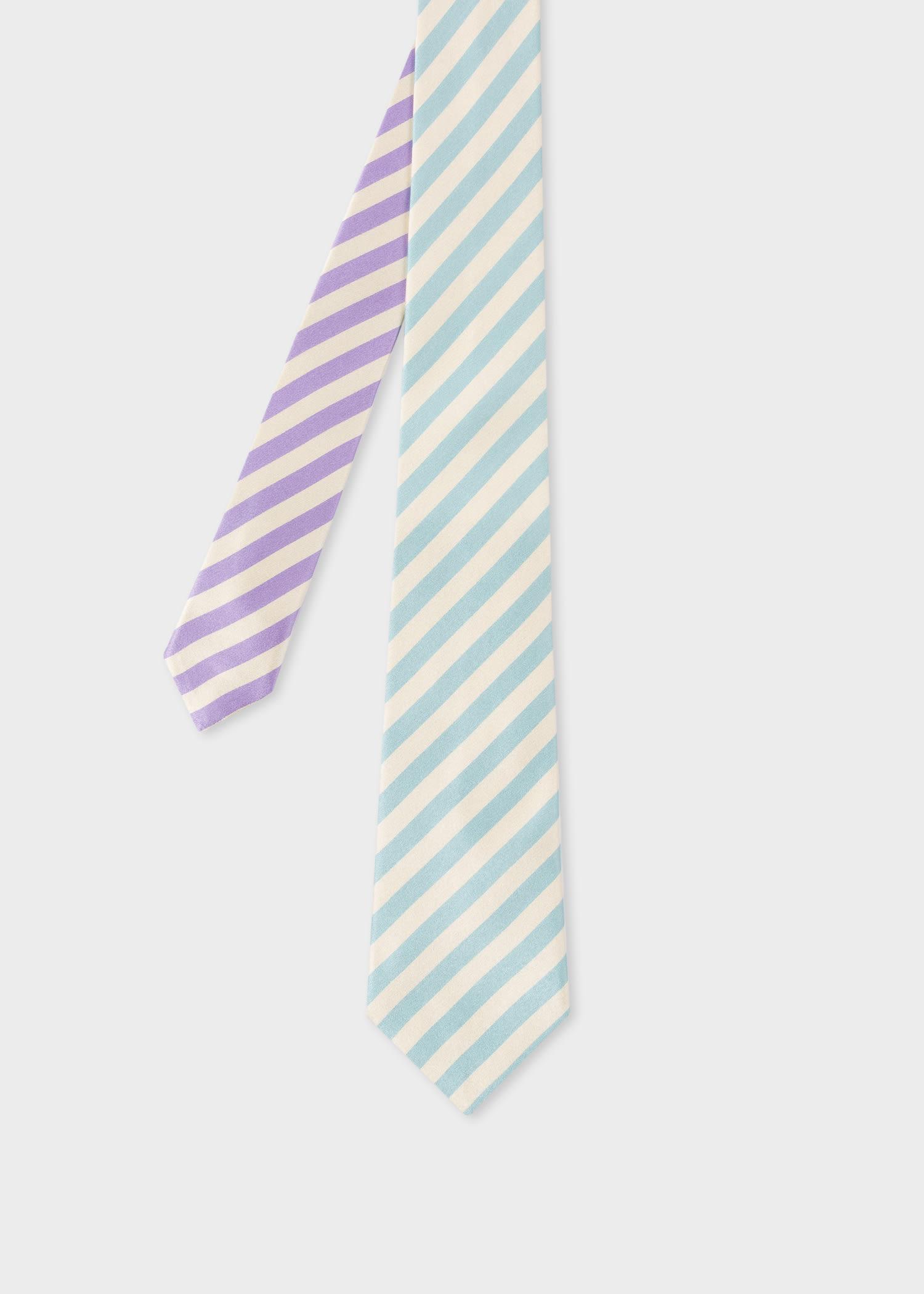 폴 스미스 Paul Smith Mens Light Blue And Purple Stripe Silk Tie