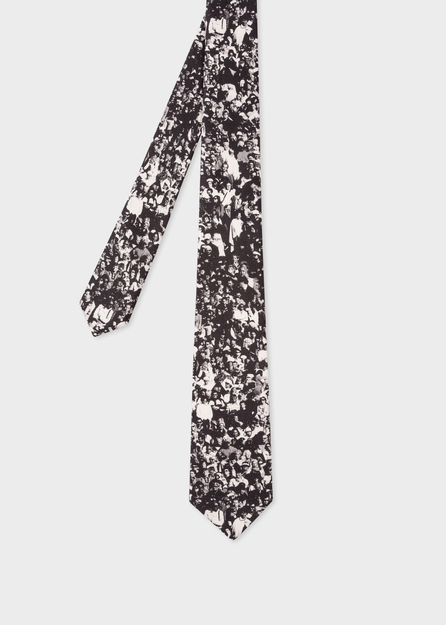 폴 스미스 Paul Smith Mens Black Silk Crowd Print Tie