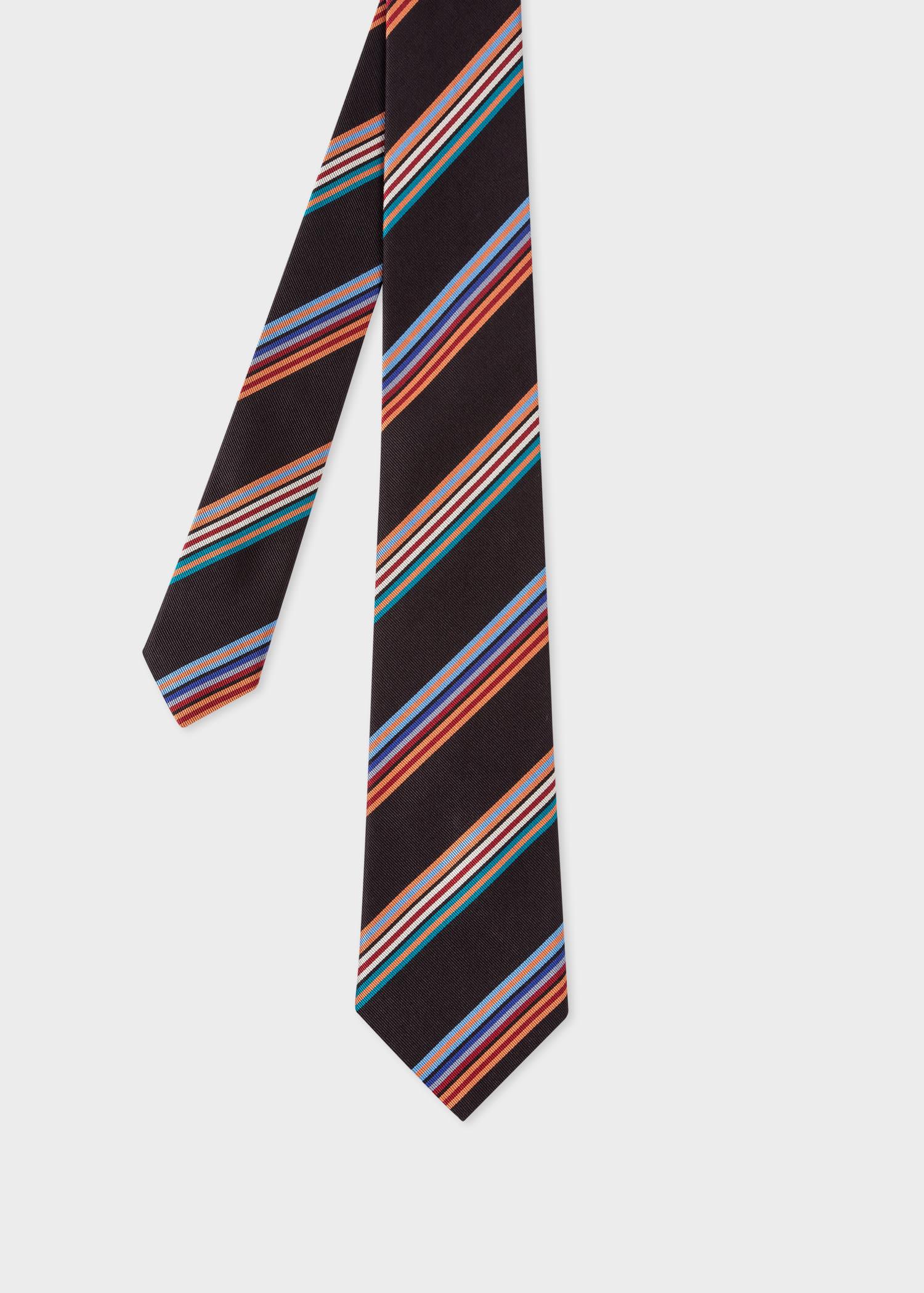 폴 스미스 Paul Smith Mens Black Multi-Coloured Stripe Silk Tie