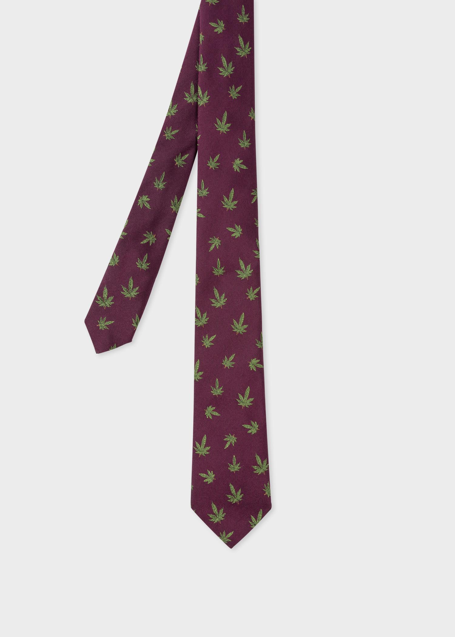 폴 스미스 Paul Smith Mens Damson Silk Hemp Leaf Tie