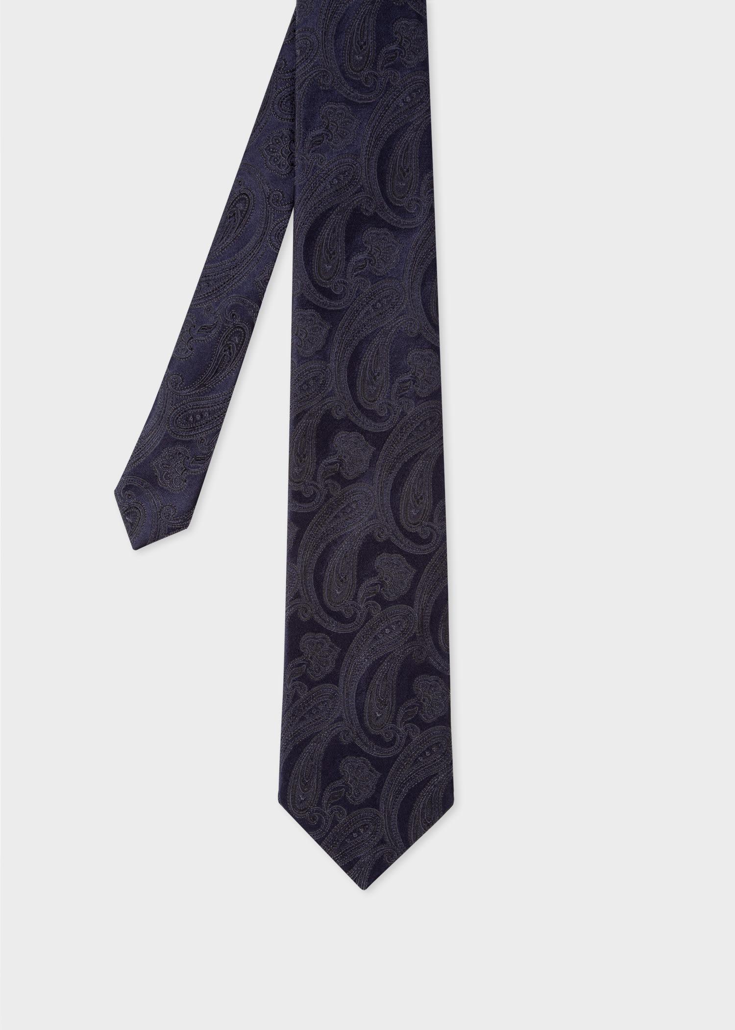 폴 스미스 Paul Smith Mens Dark Navy Tonal Paisley Silk Tie