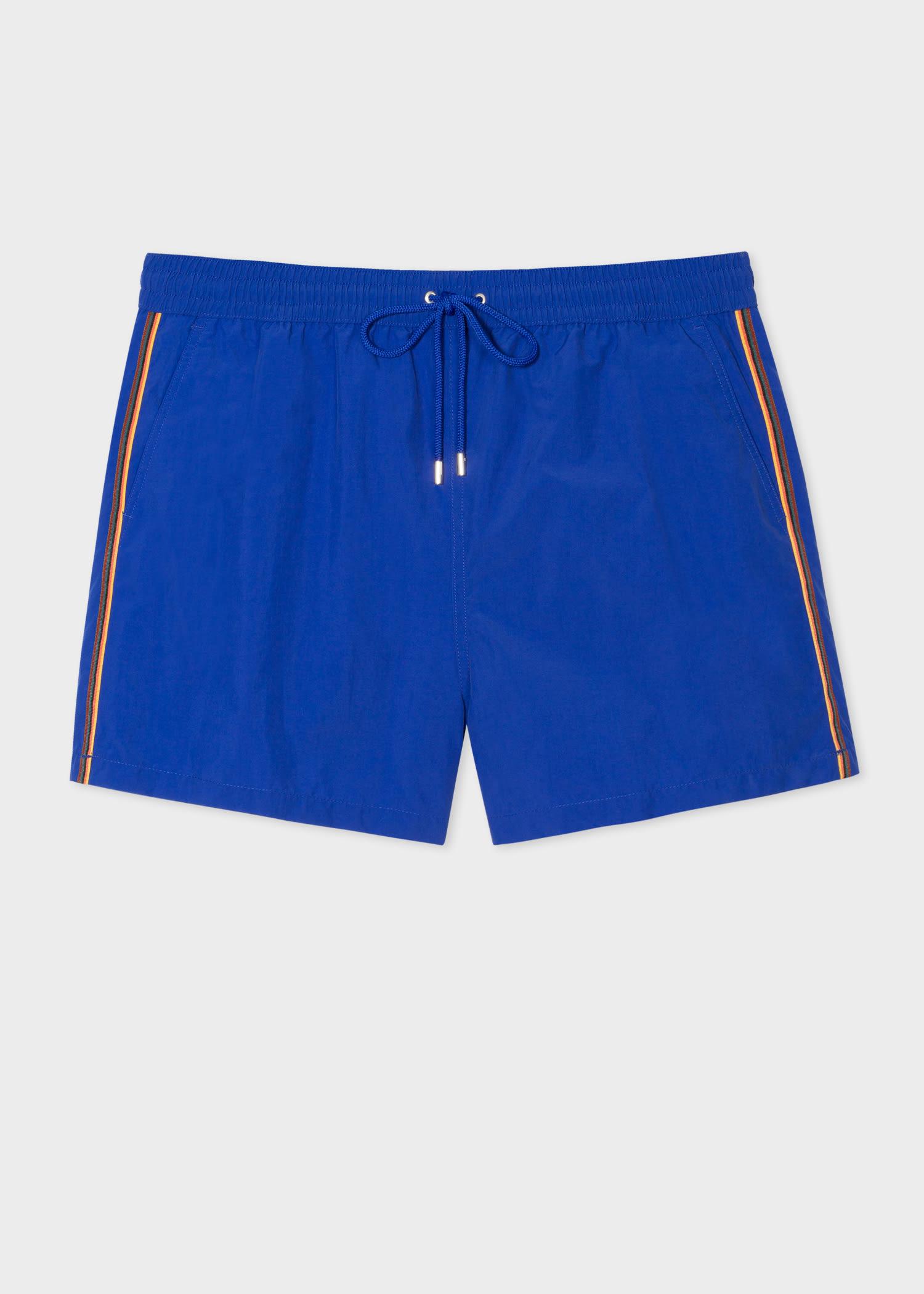폴 스미스 반바지 Paul Smith Mens Cobalt Blue Swim Shorts With Artist Stripe Trim