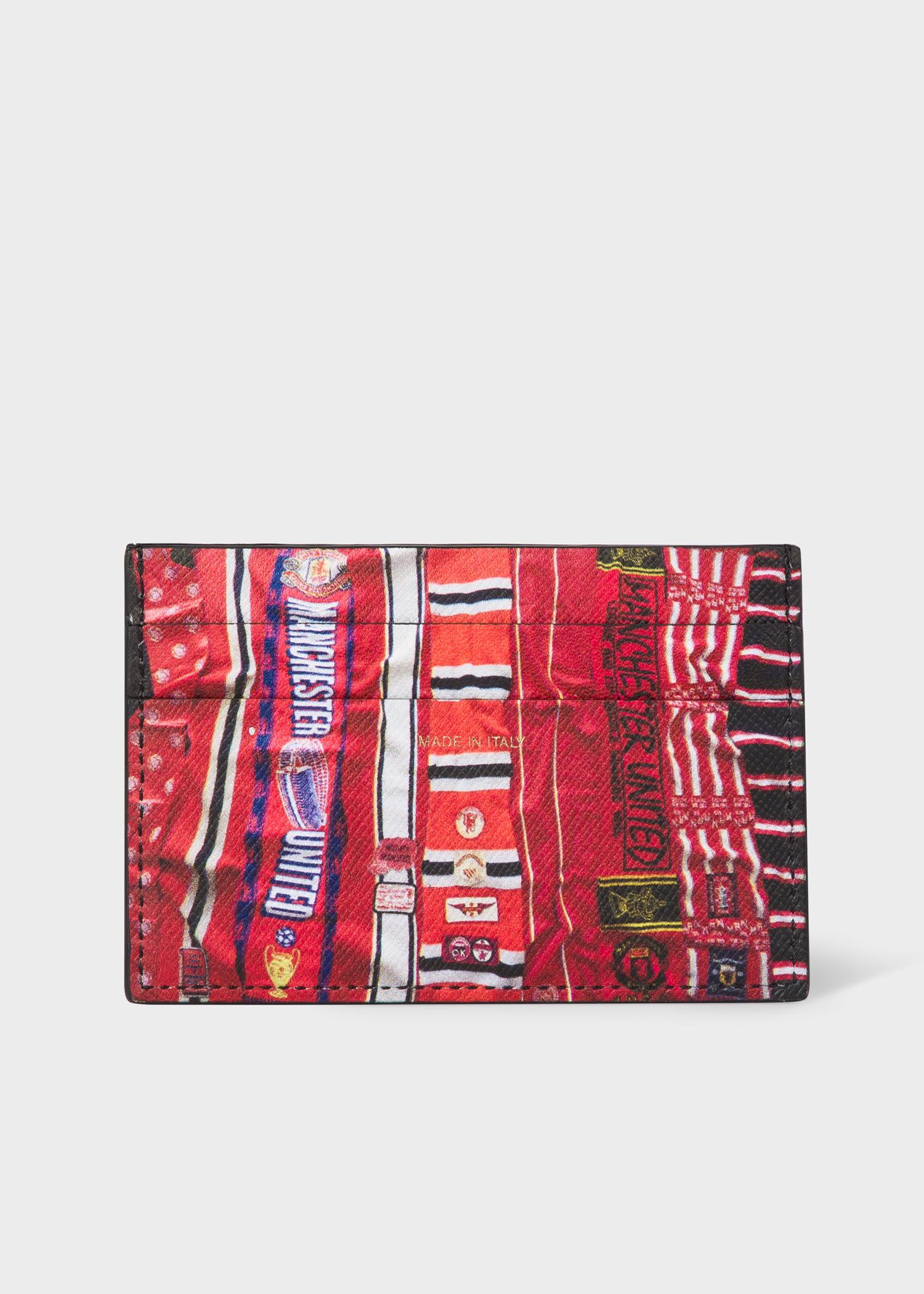 폴 스미스 카드지갑 Paul Smith & Manchester United – Men's 'Vintage Scarves' Print Leather Credit Card Holder