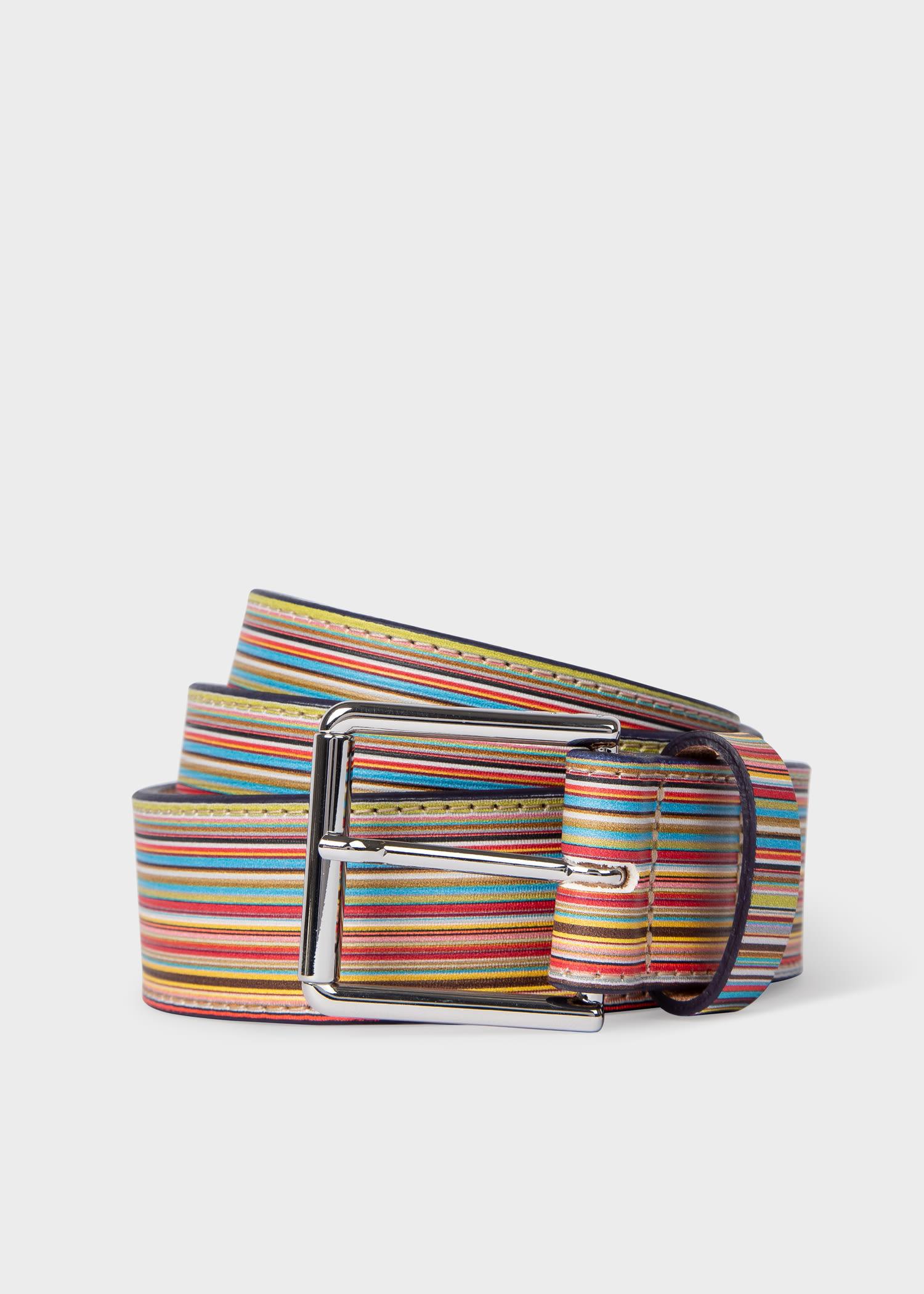 폴 스미스 벨트 Paul Smith Mens Embossed Signature Stripe Leather Belt