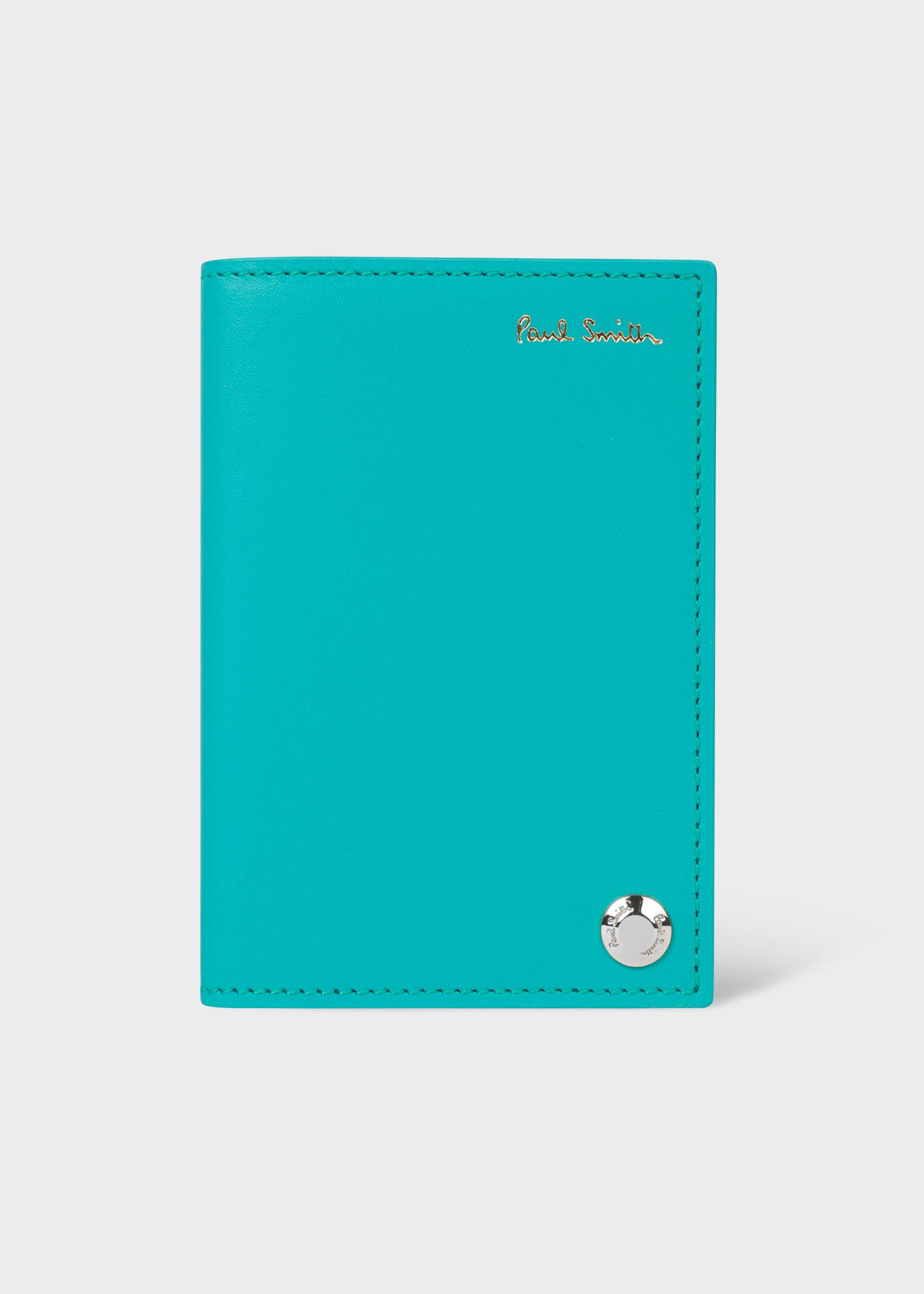 폴 스미스 카드홀더 Paul Smith Turquoise Signature Stripe Interior Leather Pivot Card Holder
