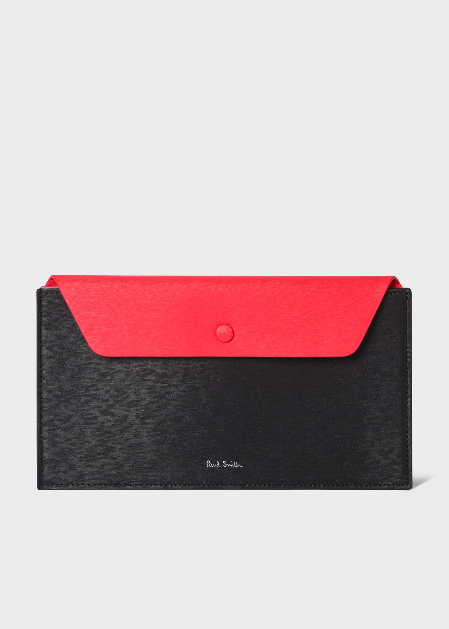 폴 스미스 Paul Smith Black And Red Leather Concertina Travel Wallet