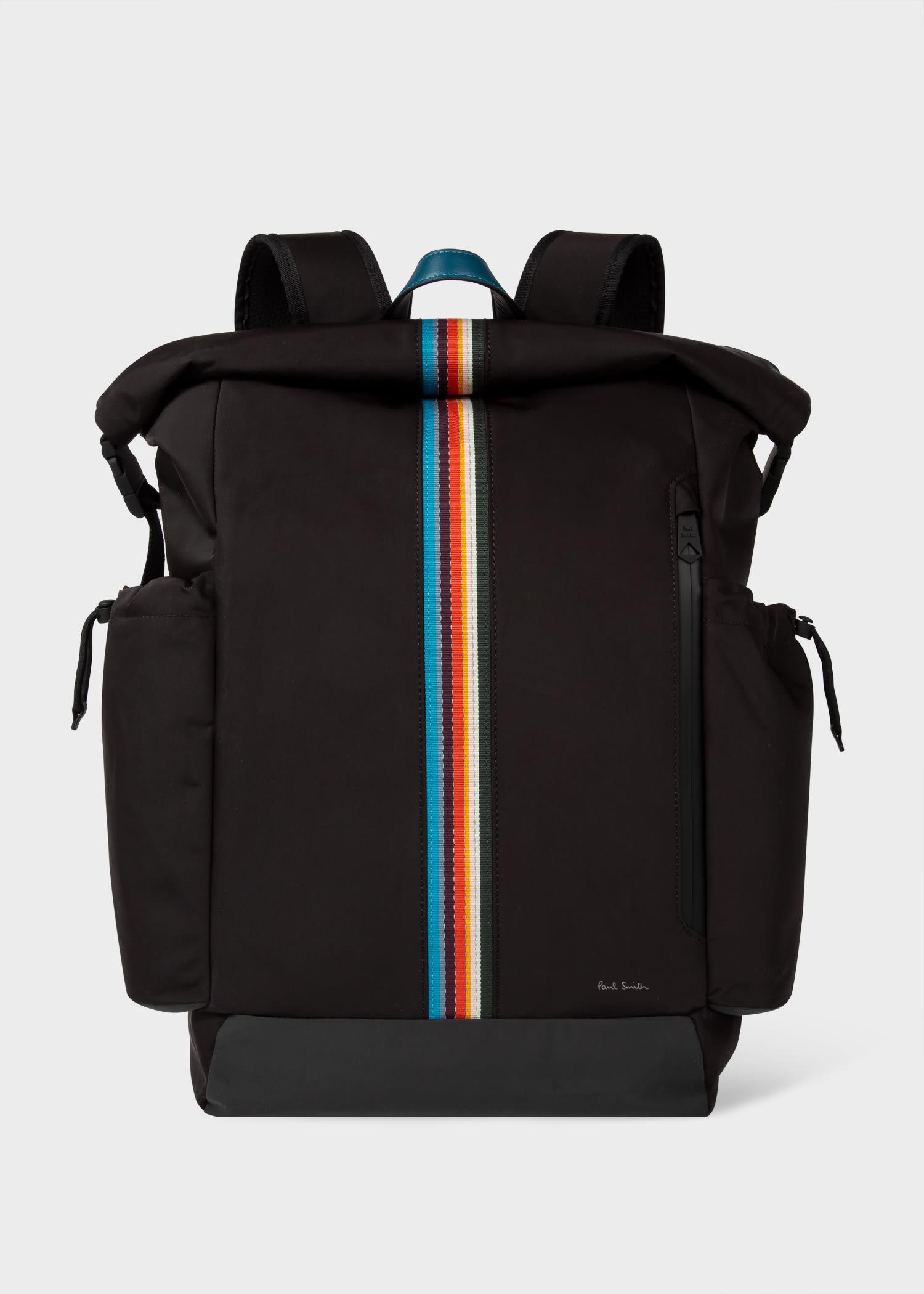 폴 스미스 백팩 Paul Smith Mens Black Roll-Top Cycling Backpack With Reflective Cover