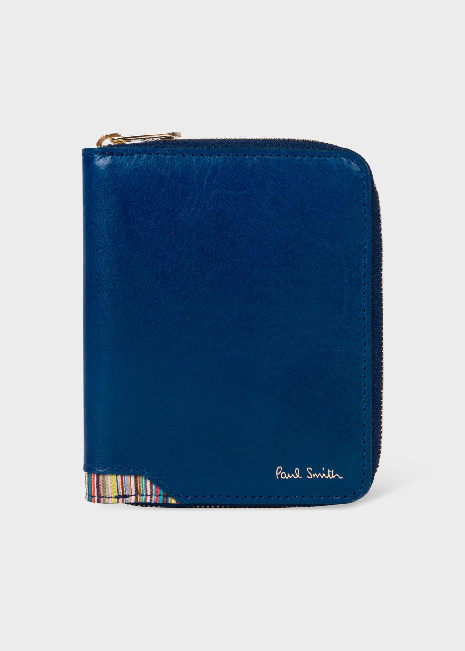 폴 스미스 지갑 Paul Smith Mens Blue Leather Zip-Around Wallet With Signature Stripe Corner Insert