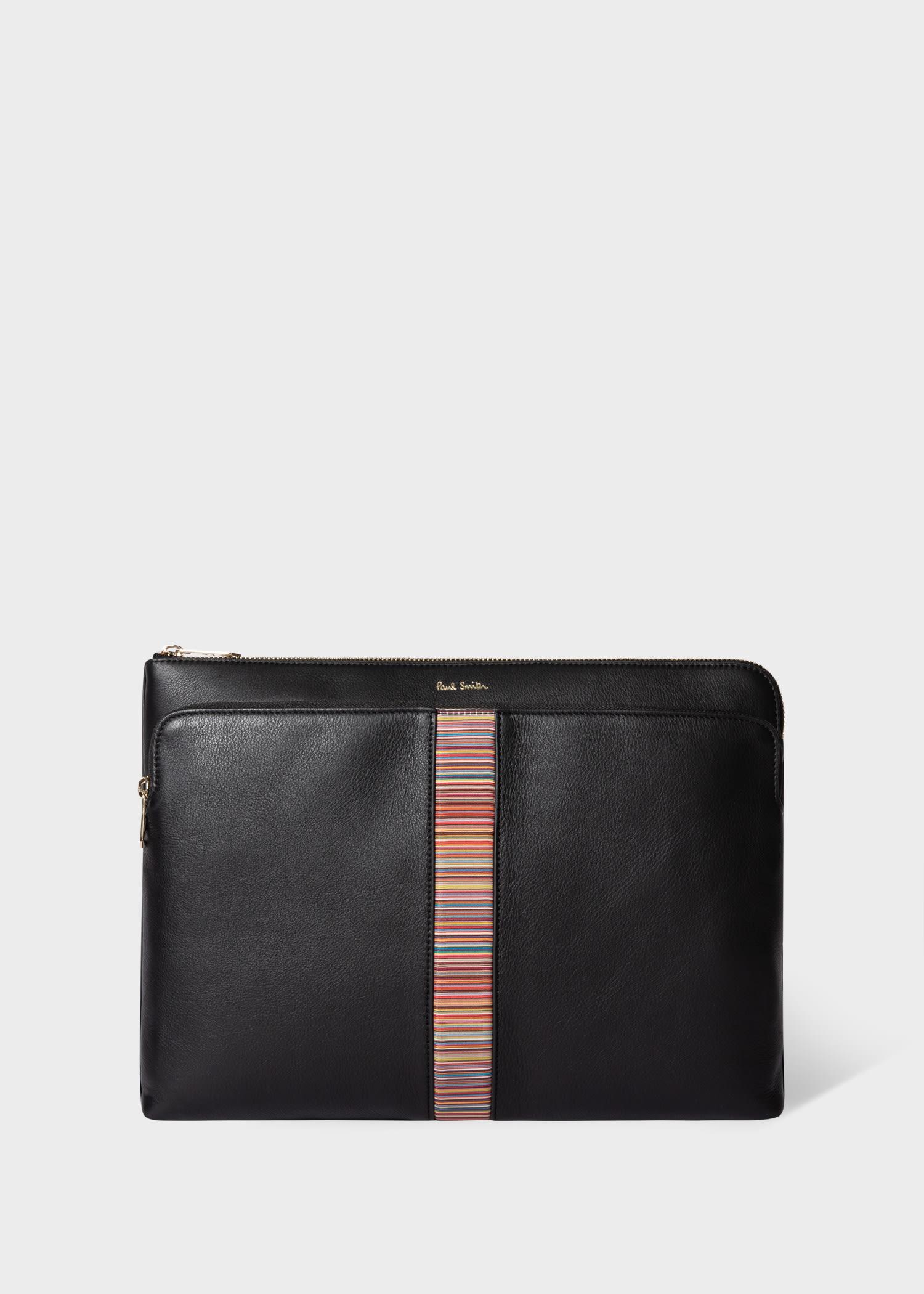 폴 스미스 서류 가방 Paul Smith Black Leather Signature Stripe Document Case