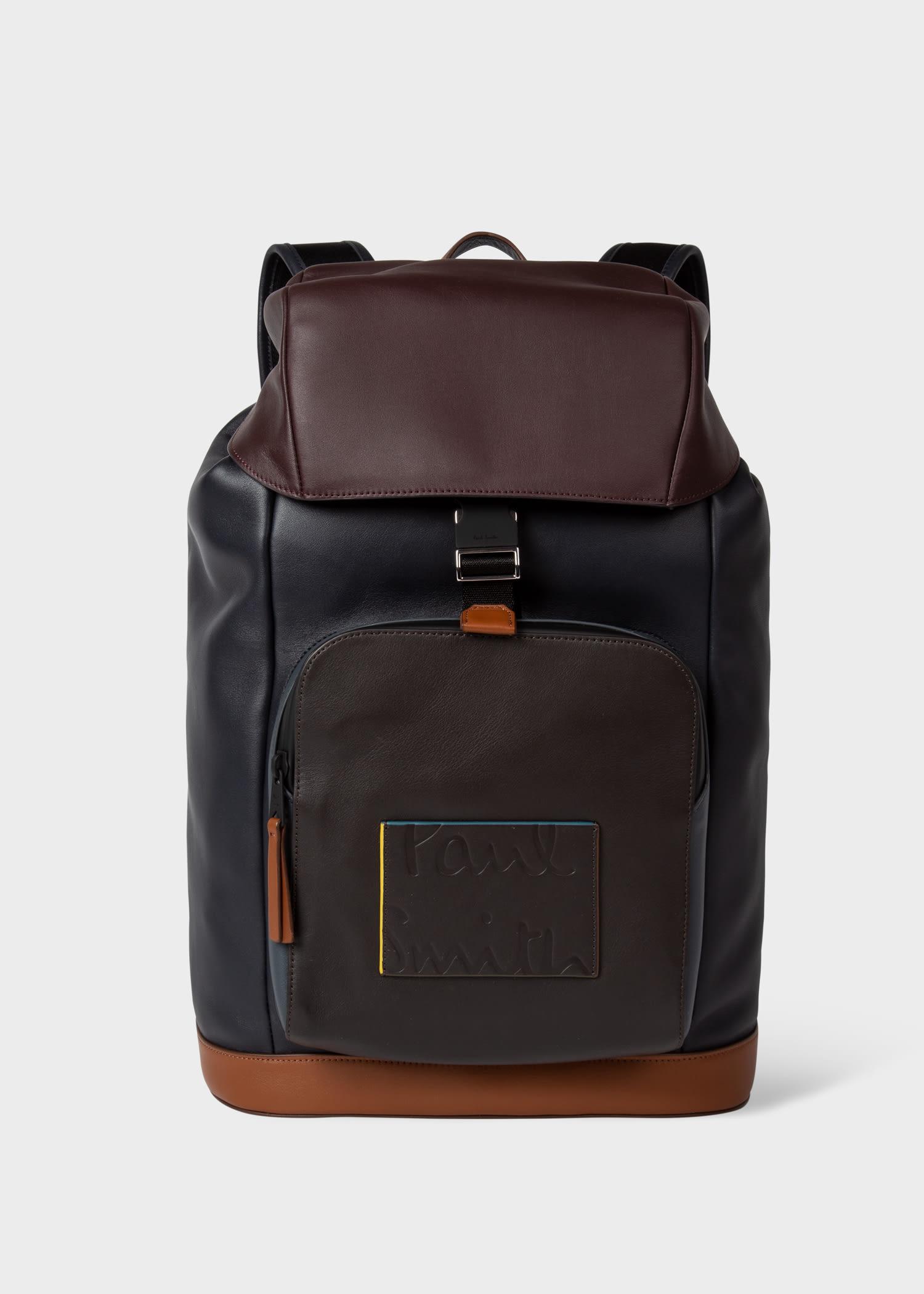 폴 스미스 백팩 Paul Smith Mens Colour-Block Leather Backpack