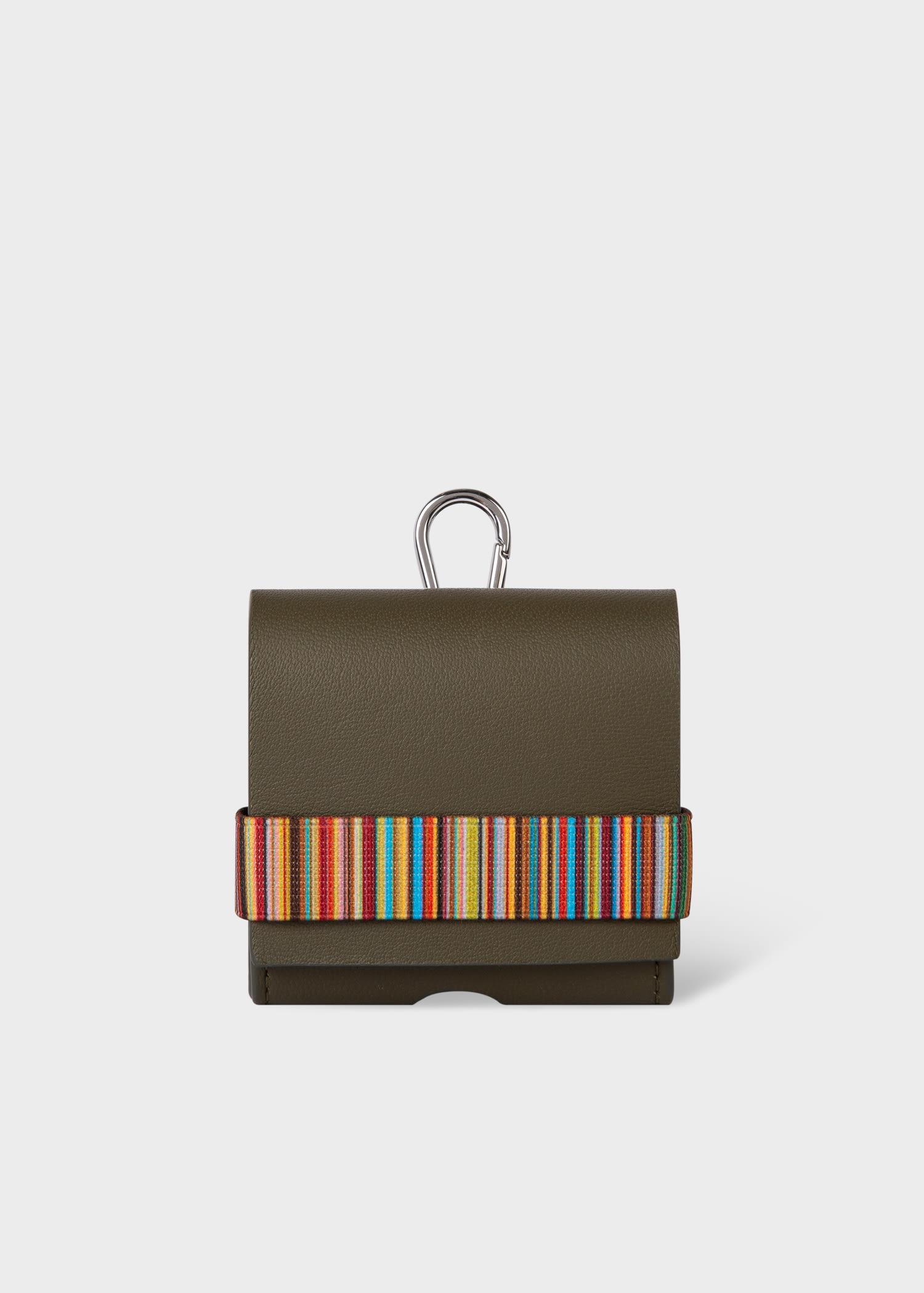 폴 스미스 에어팟 프로 케이스 Paul Smith Green Leather Signature Stripe AirPod Pro Case