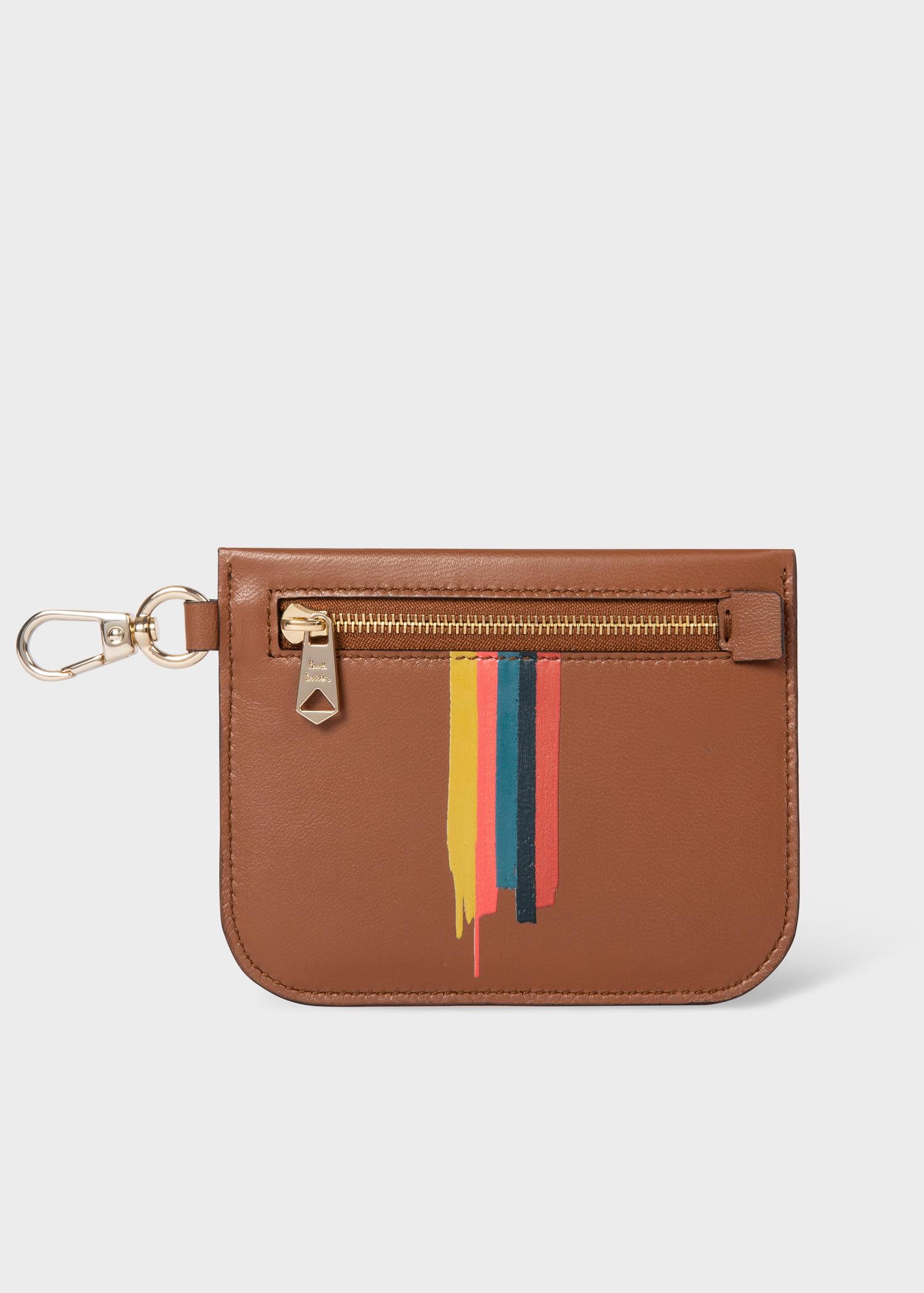 폴 스미스 파우치 Paul Smith Tan Leather Painted Stripe Pouch