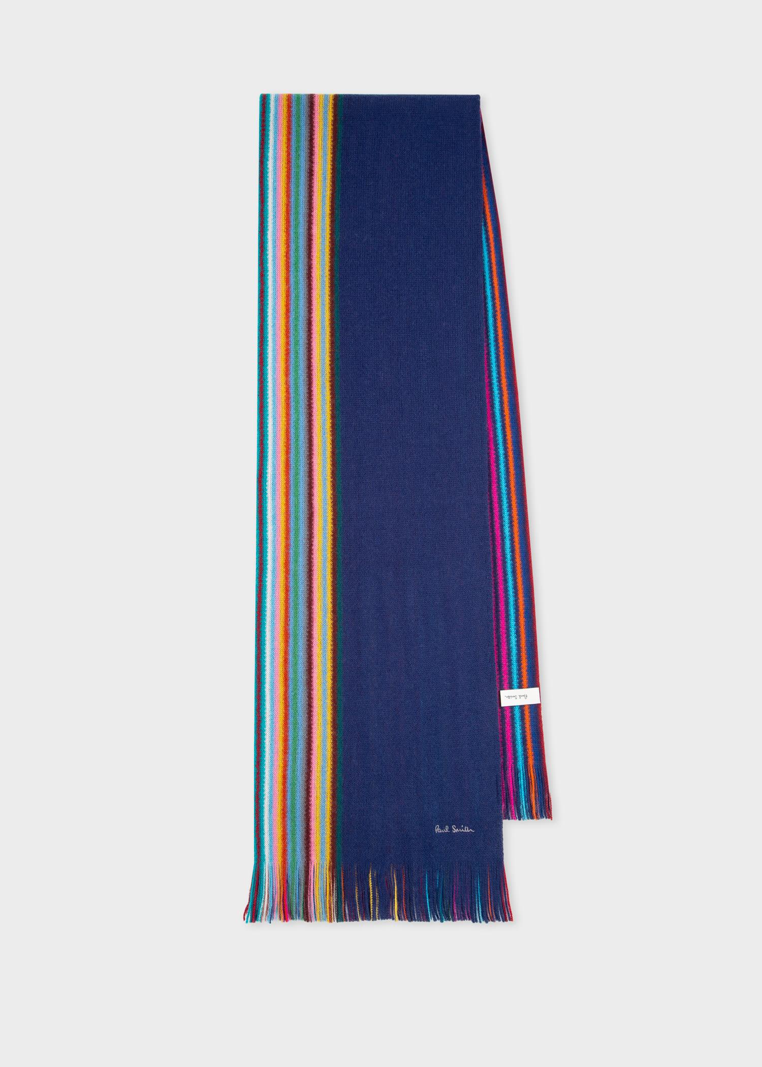 폴 스미스 스카프 Paul Smith Mens Blue Multi-Stripe Edge Wool Scarf