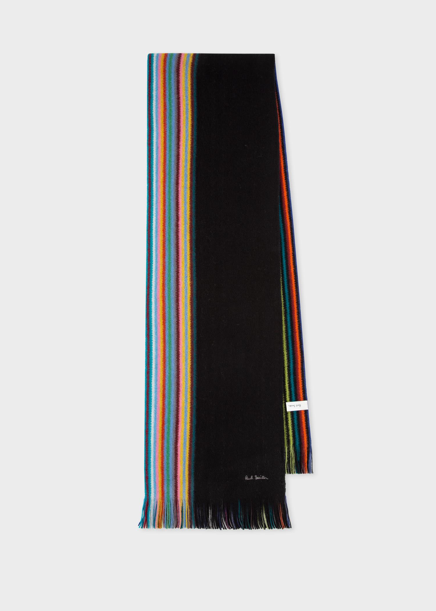폴 스미스 스카프 Paul Smith Mens Black Multi-Stripe Edge Wool Scarf
