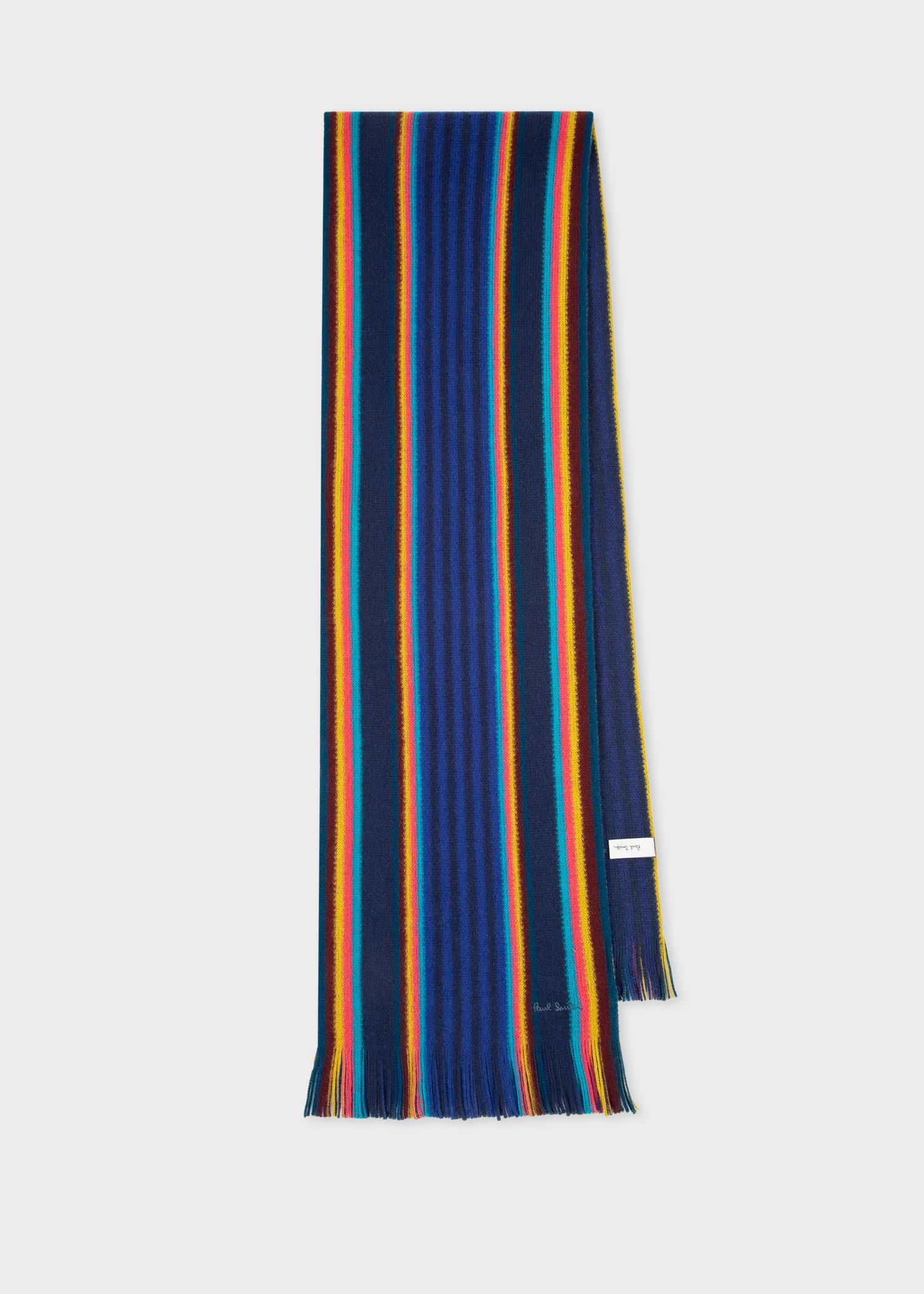 폴 스미스 스카프 Paul Smith Mens Blue Two Block Stripe Scarf