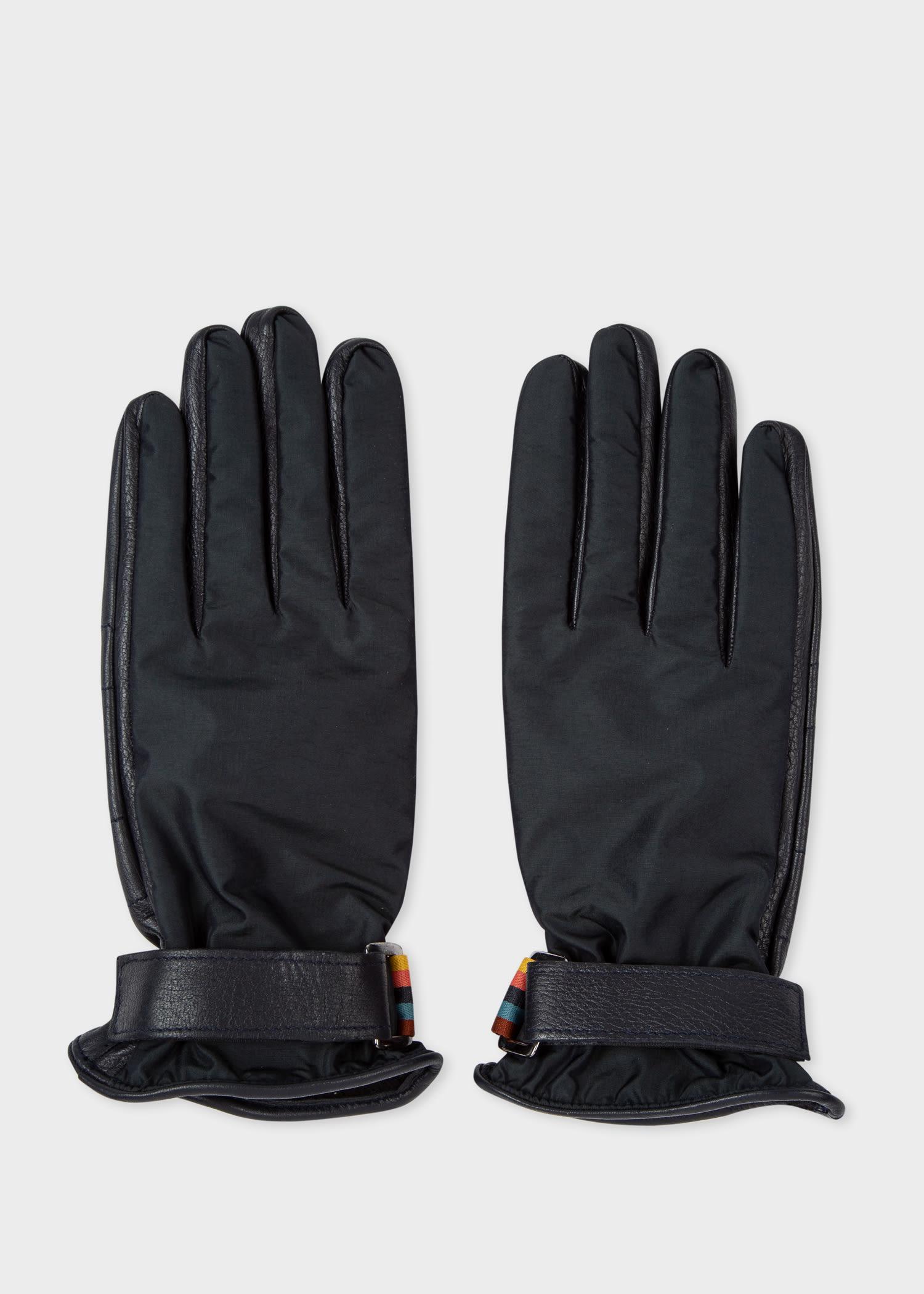 폴 스미스 장갑 Paul Smith Mens Dark Navy Tech Leather Gloves