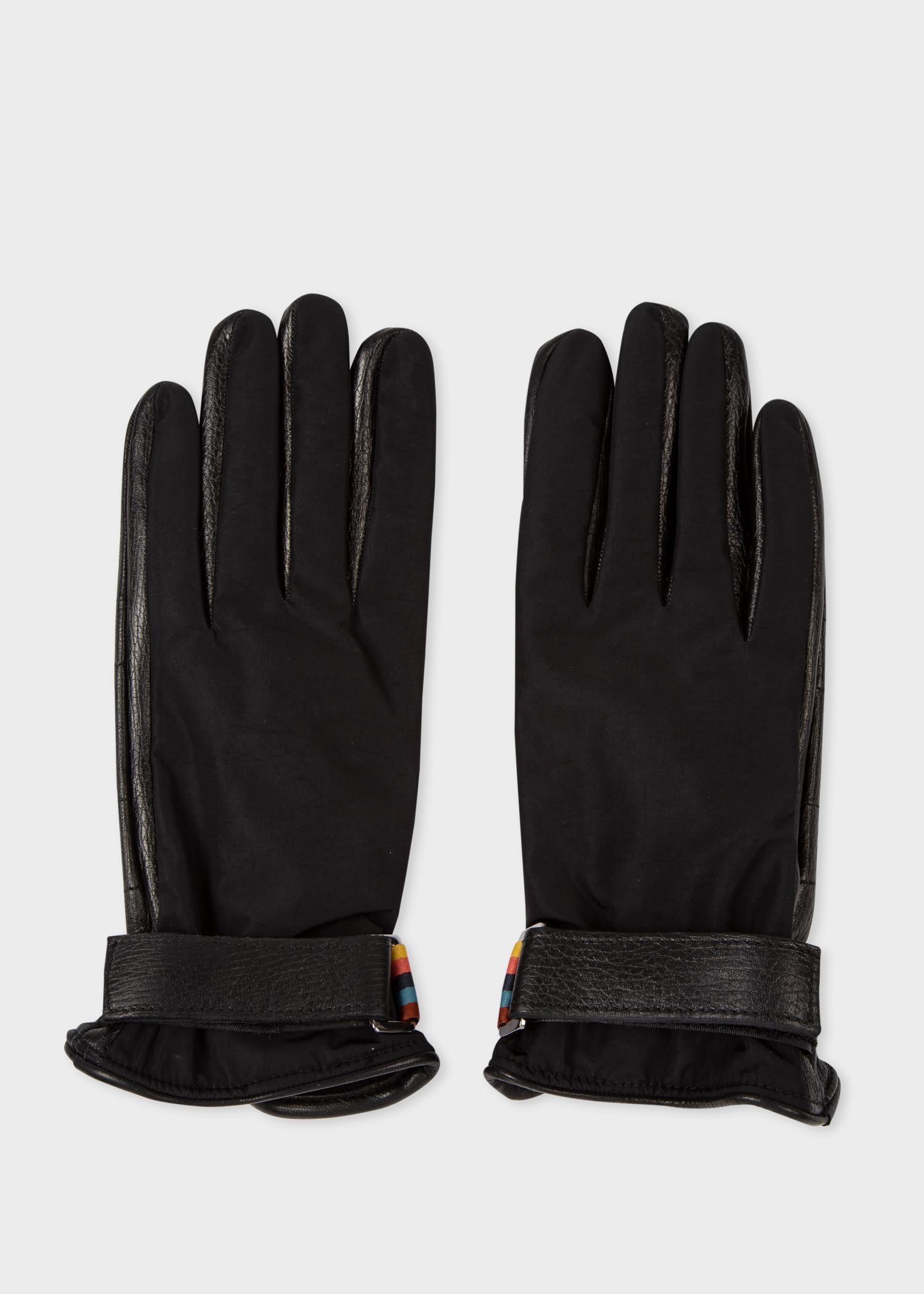 폴 스미스 장갑 Paul Smith Mens Black Tech Leather Gloves