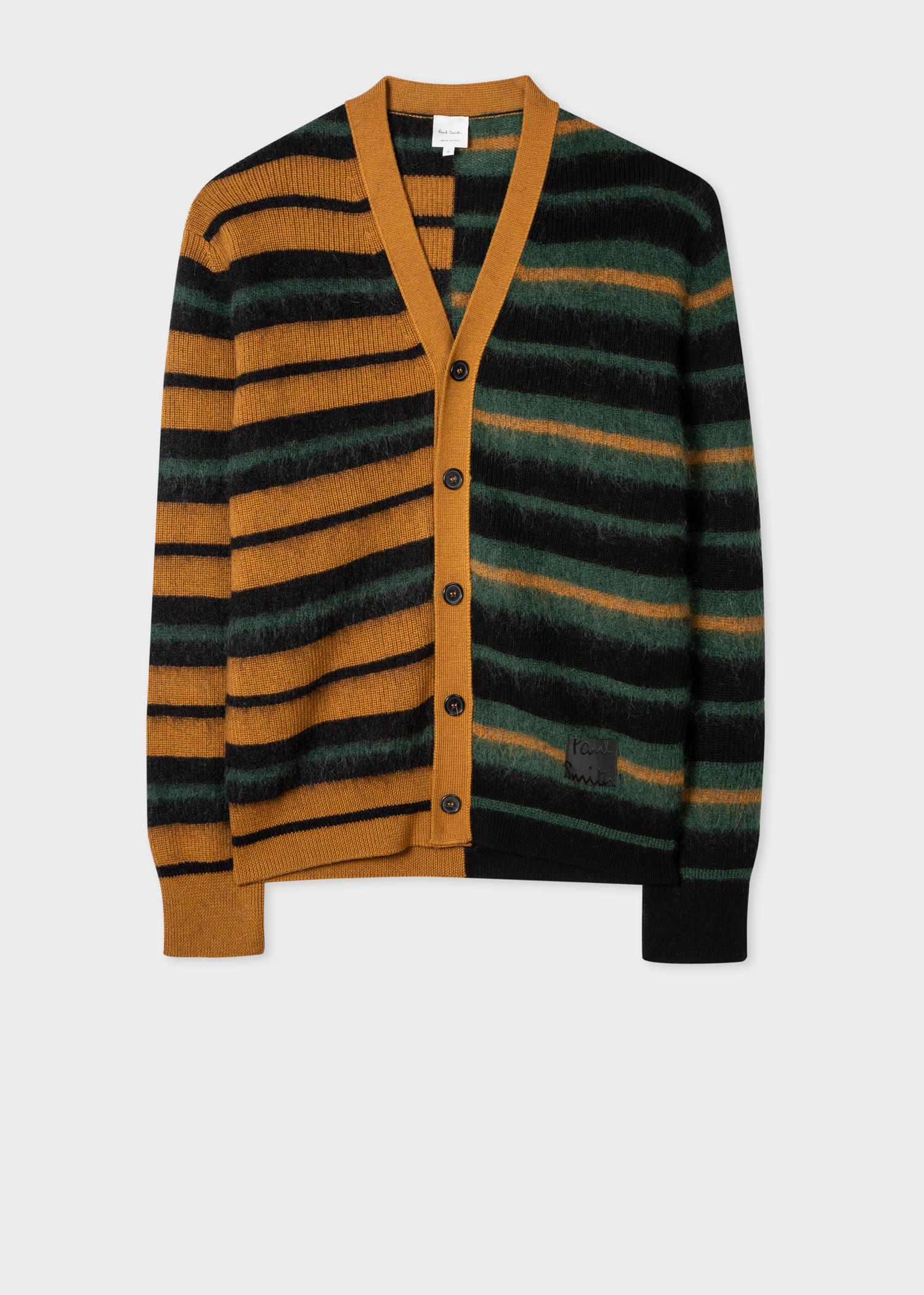 폴 스미스 가디건 Paul Smith Mens Wool And Mohair-Blend Stripe Cardigan
