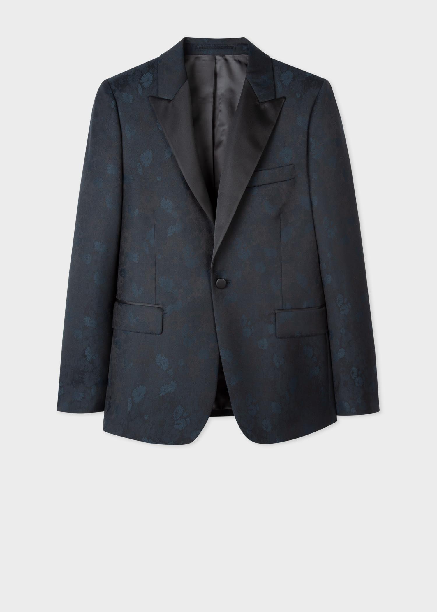 폴 스미스 블레이저 Paul Smith The Soho - Mens Tailored-Fit Dark Navy Archive Floral Evening Blazer
