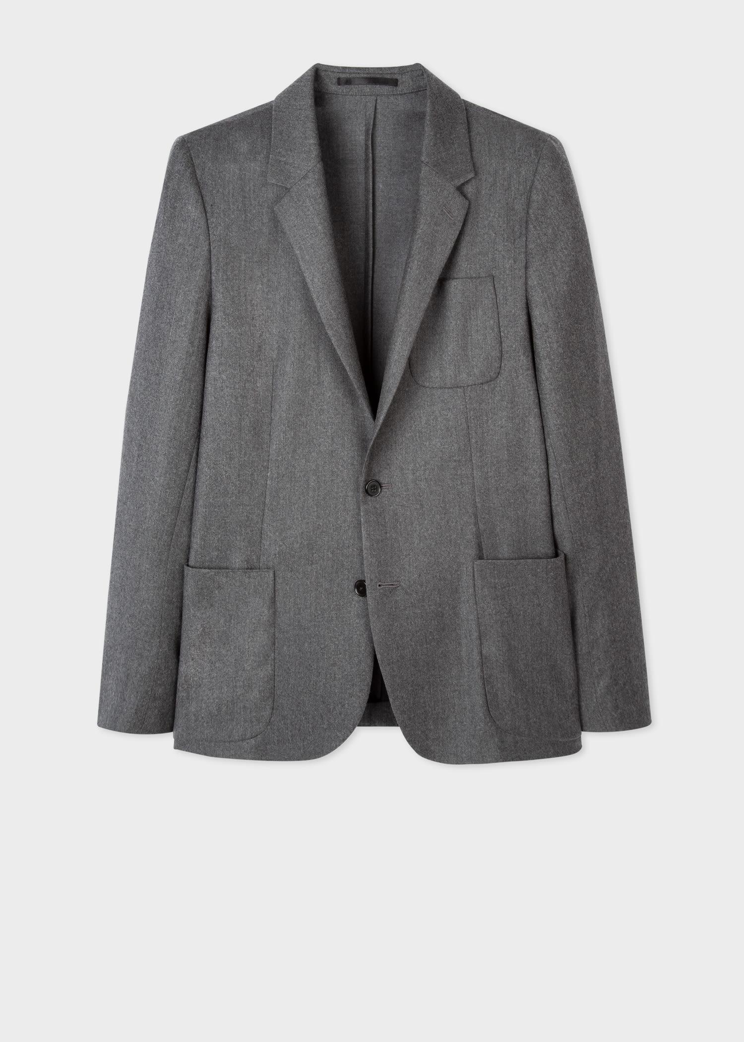 폴 스미스 블레이저 Paul Smith Mens Grey Marl Wool-Cashmere Patch-Pocket Unlined Blazer