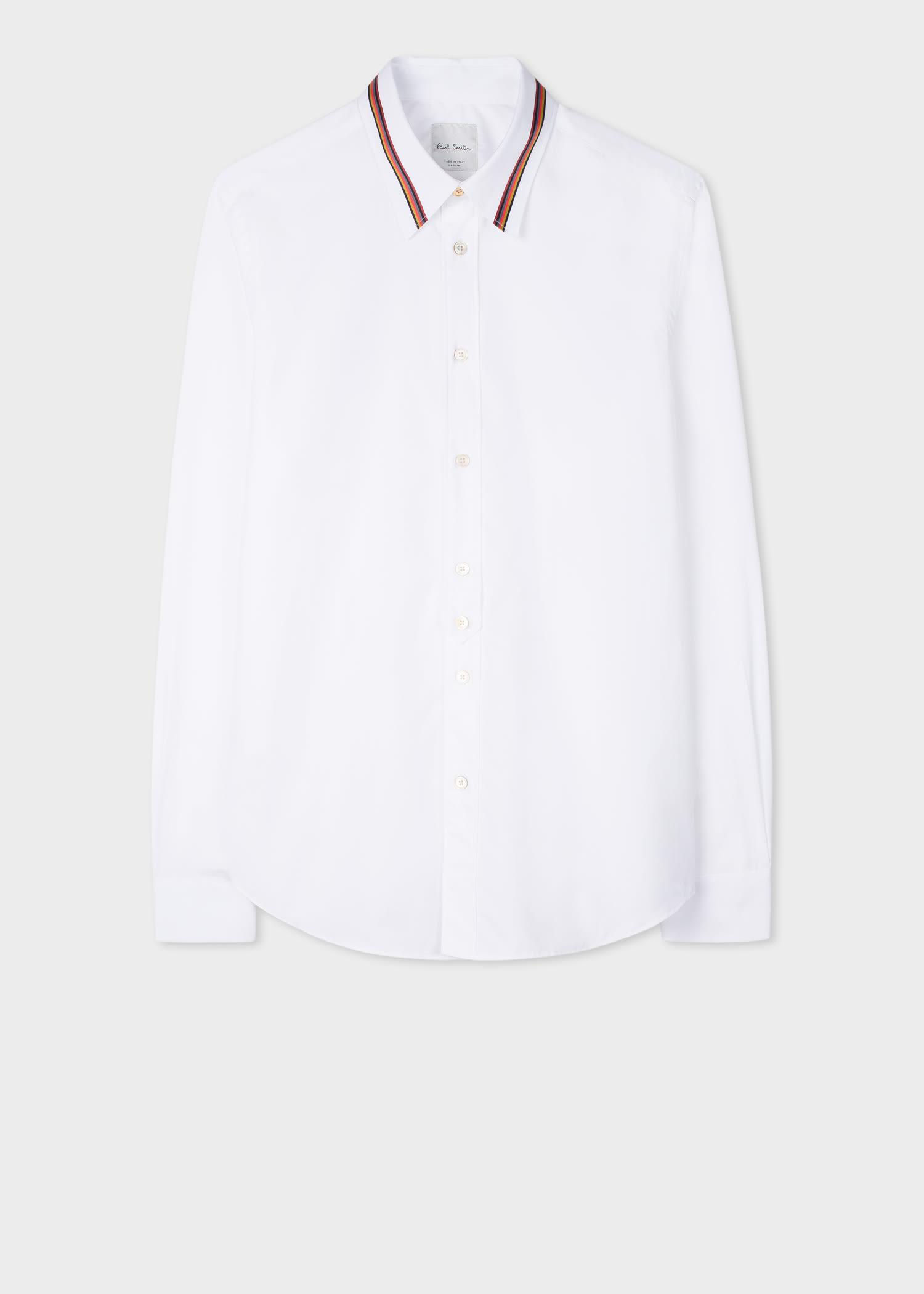 폴 스미스 드레스 셔츠 Paul Smith Mens Slim-Fit White Cotton Shirt With Artist Stripe Collar Detail