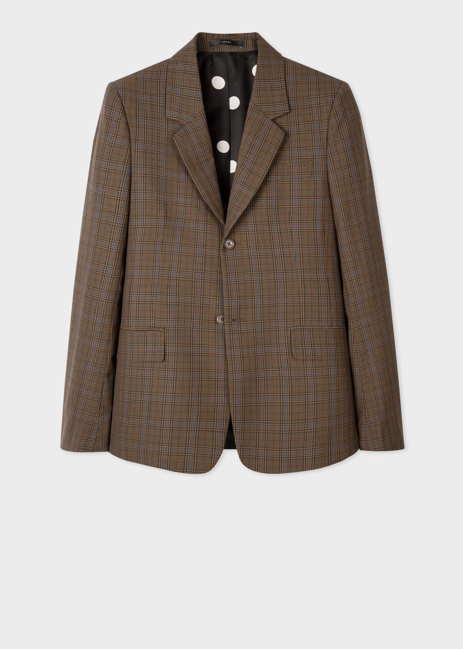 폴 스미스 블레이저 Paul Smith Mens Brown Wool-Blend Check Blazer