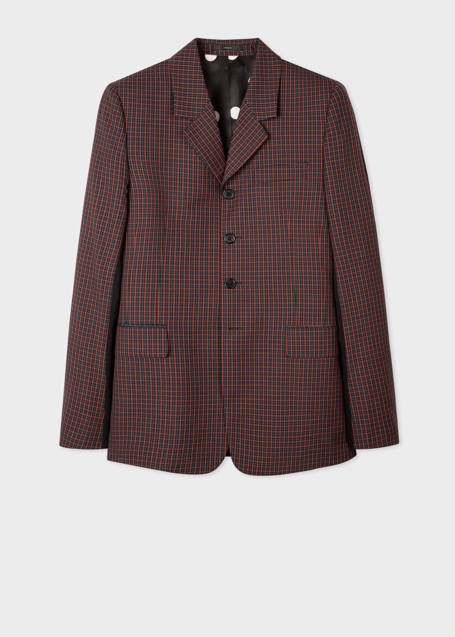 폴 스미스 블레이저 Paul Smith Mens Red And Green Gingham Wool Blazer