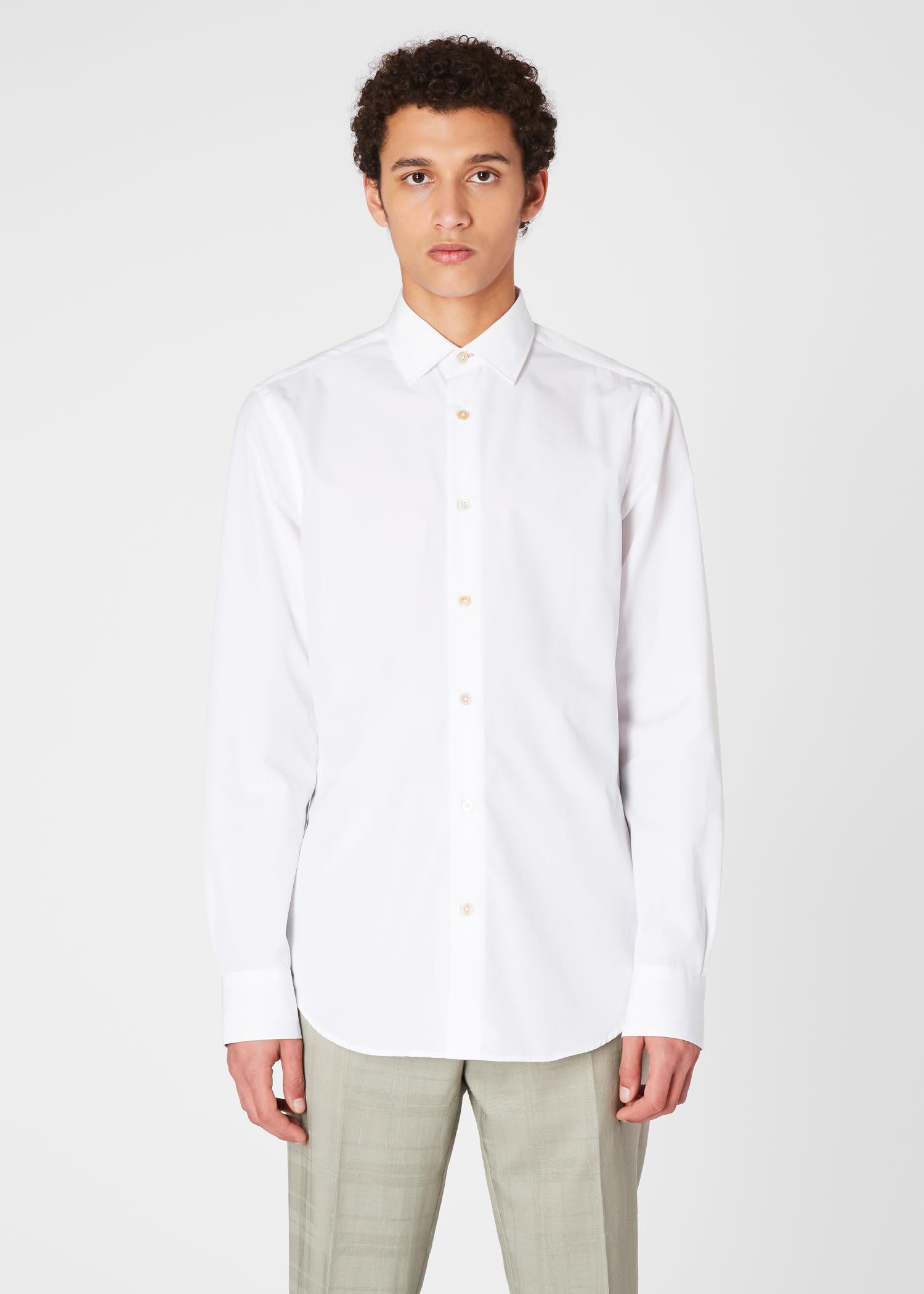 폴 스미스 드레스 셔츠 Paul Smith Mens Tailored-Fit White Cotton Signature Stripe Cuff Shirt