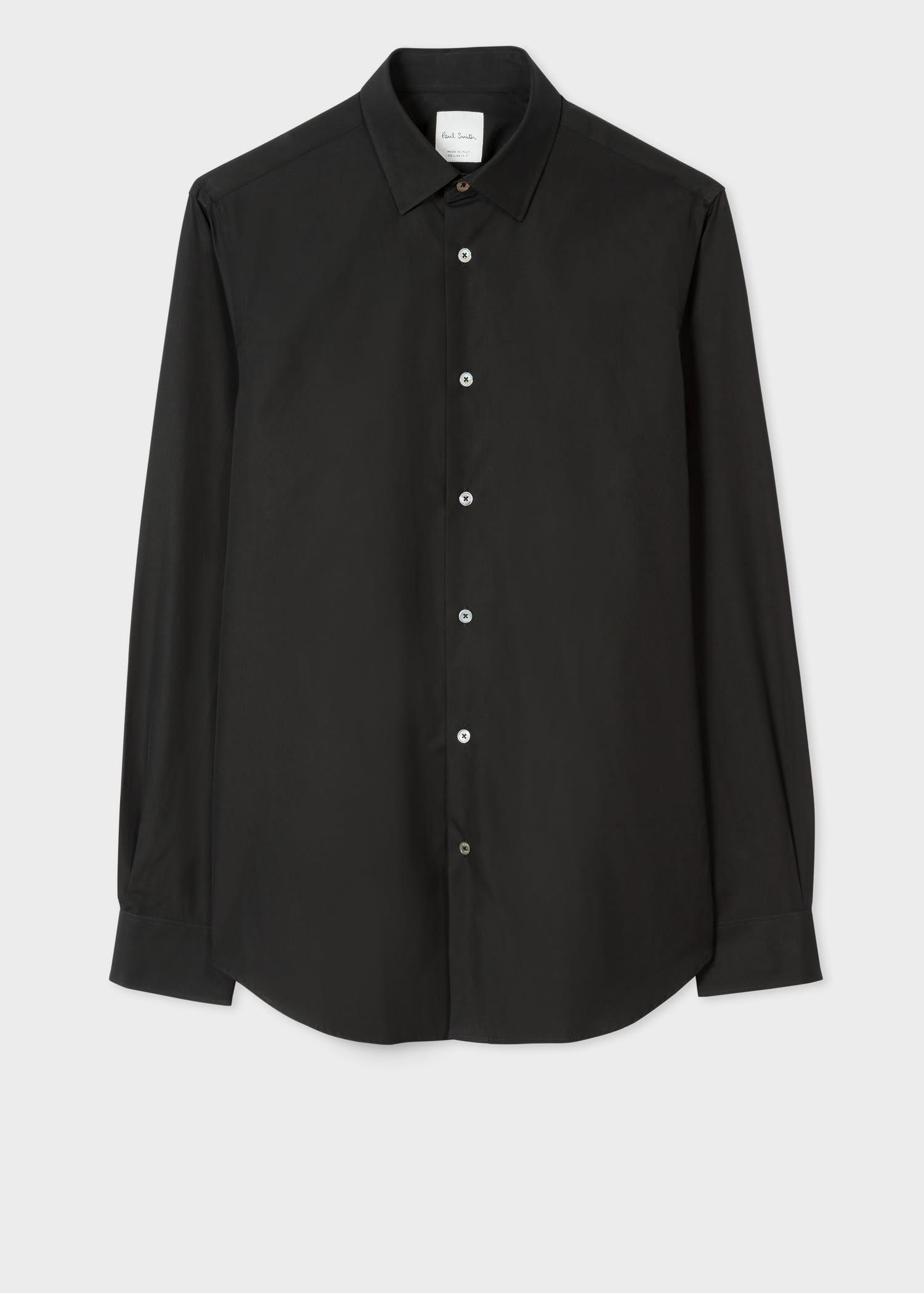 폴 스미스 드레스 셔츠 Paul Smith Mens Tailored-Fit Black Cotton Artist Stripe Cuff Shirt