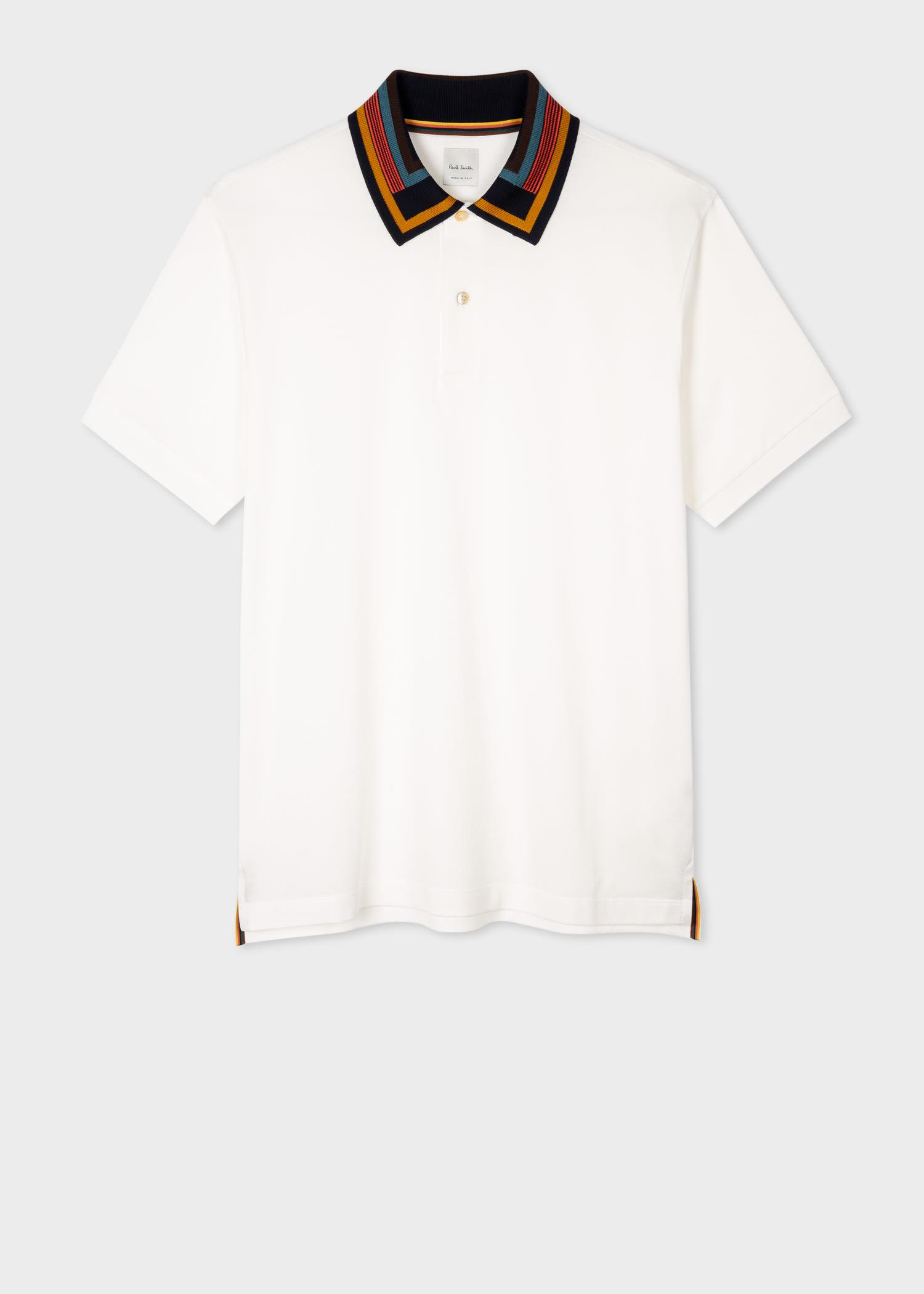 폴 스미스 폴로 셔츠 Paul Smith Mens White Cotton-Pique Polo Shirt With Contrast Collar