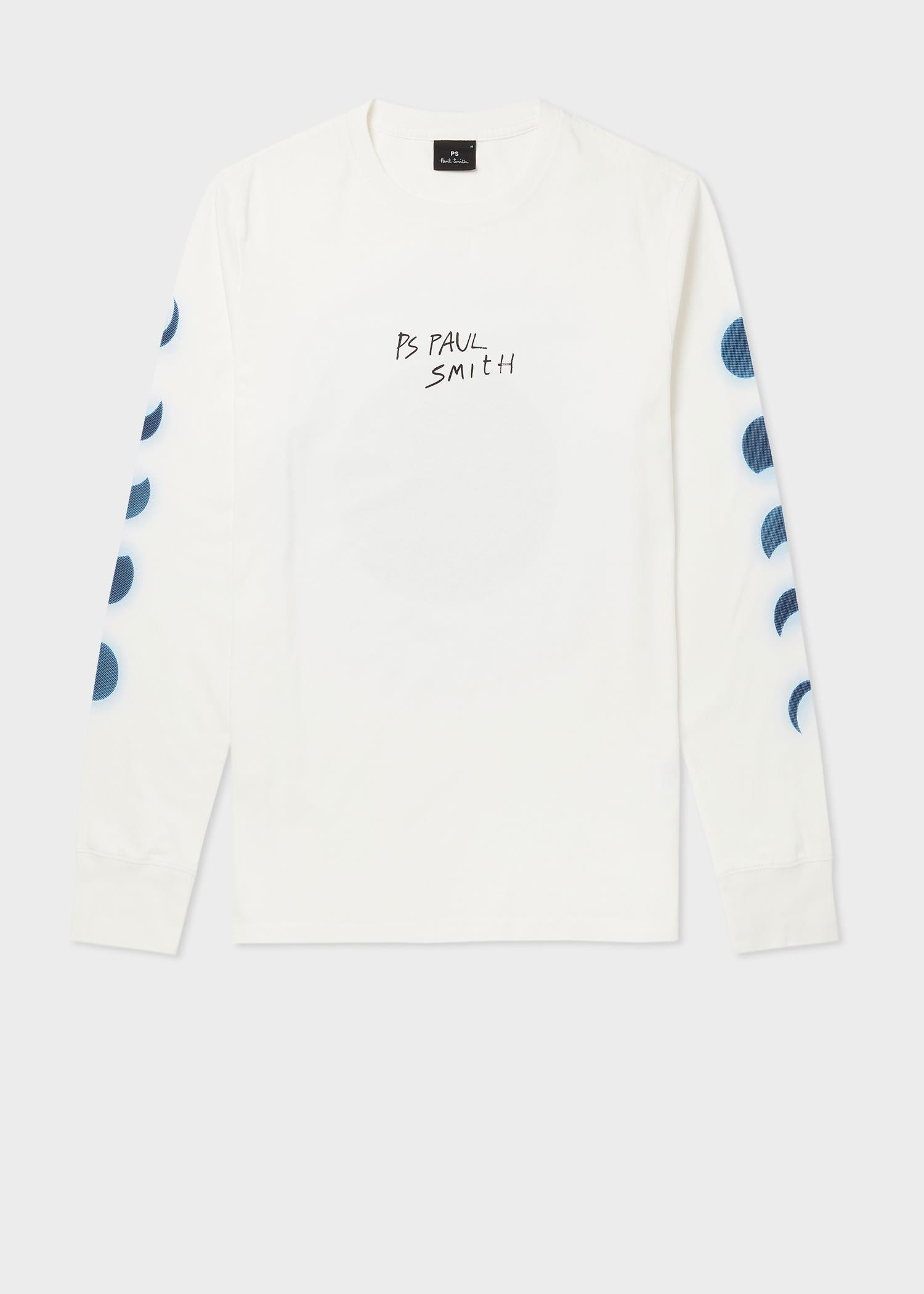 폴 스미스 티셔츠  Paul Smith Mens White Moon Print Cotton Long-Sleeve T-Shirt