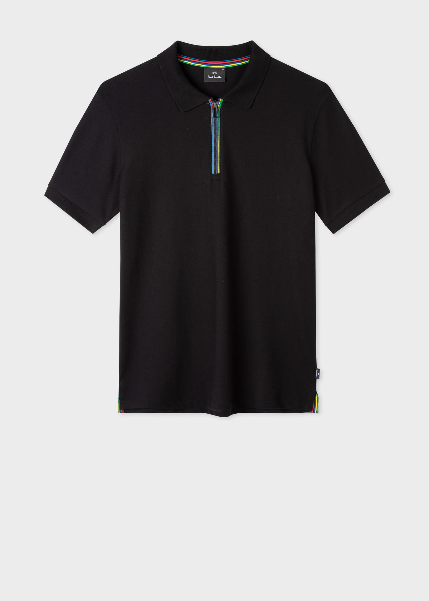폴 스미스 폴로 셔츠 Paul Smith Mens Black Cotton-Blend Sports Stripe Zip Polo Shirt