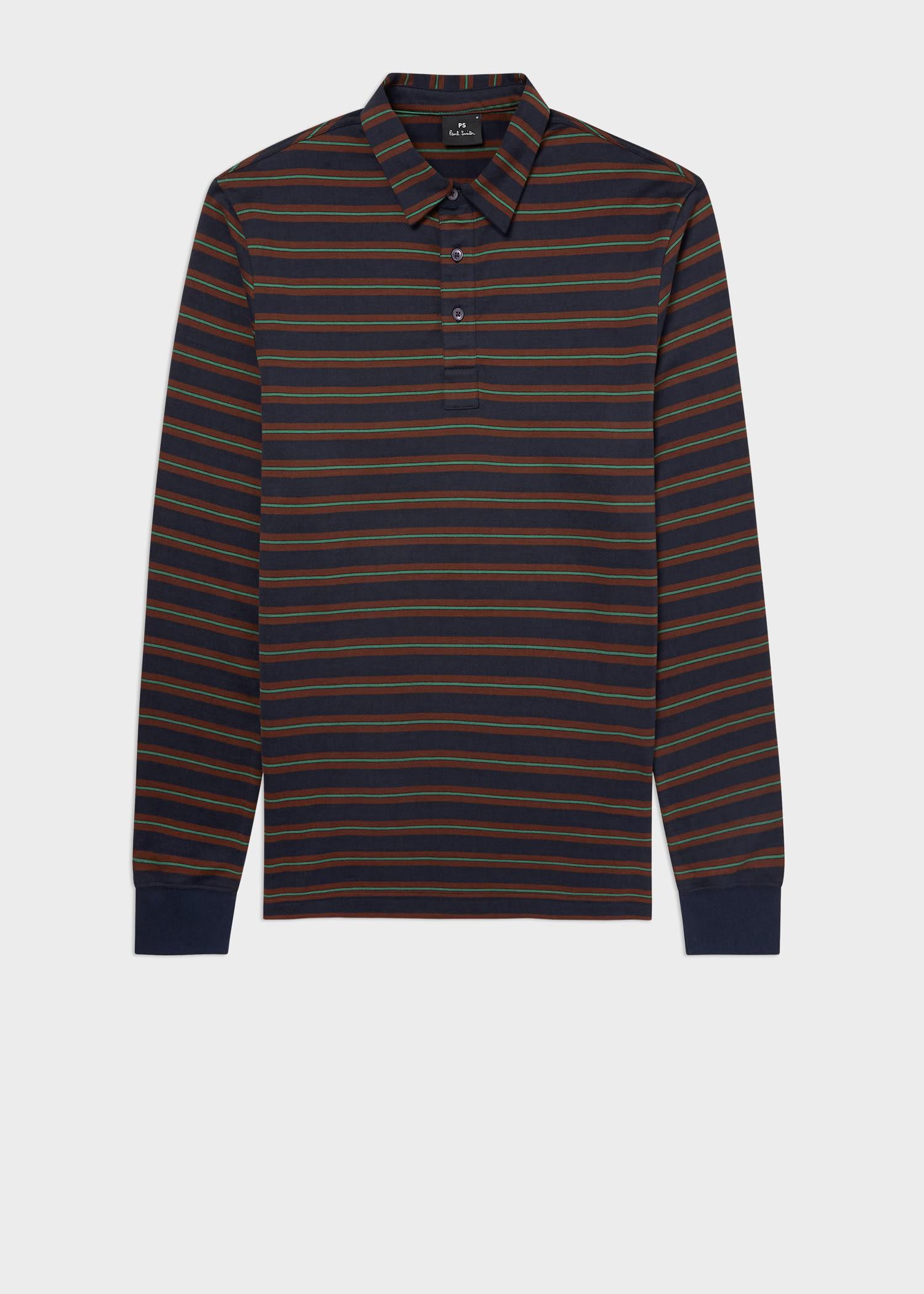 폴 스미스 폴로 셔츠 Paul Smith Mens Navy Stripe Cotton Long-Sleeve Polo Shirt