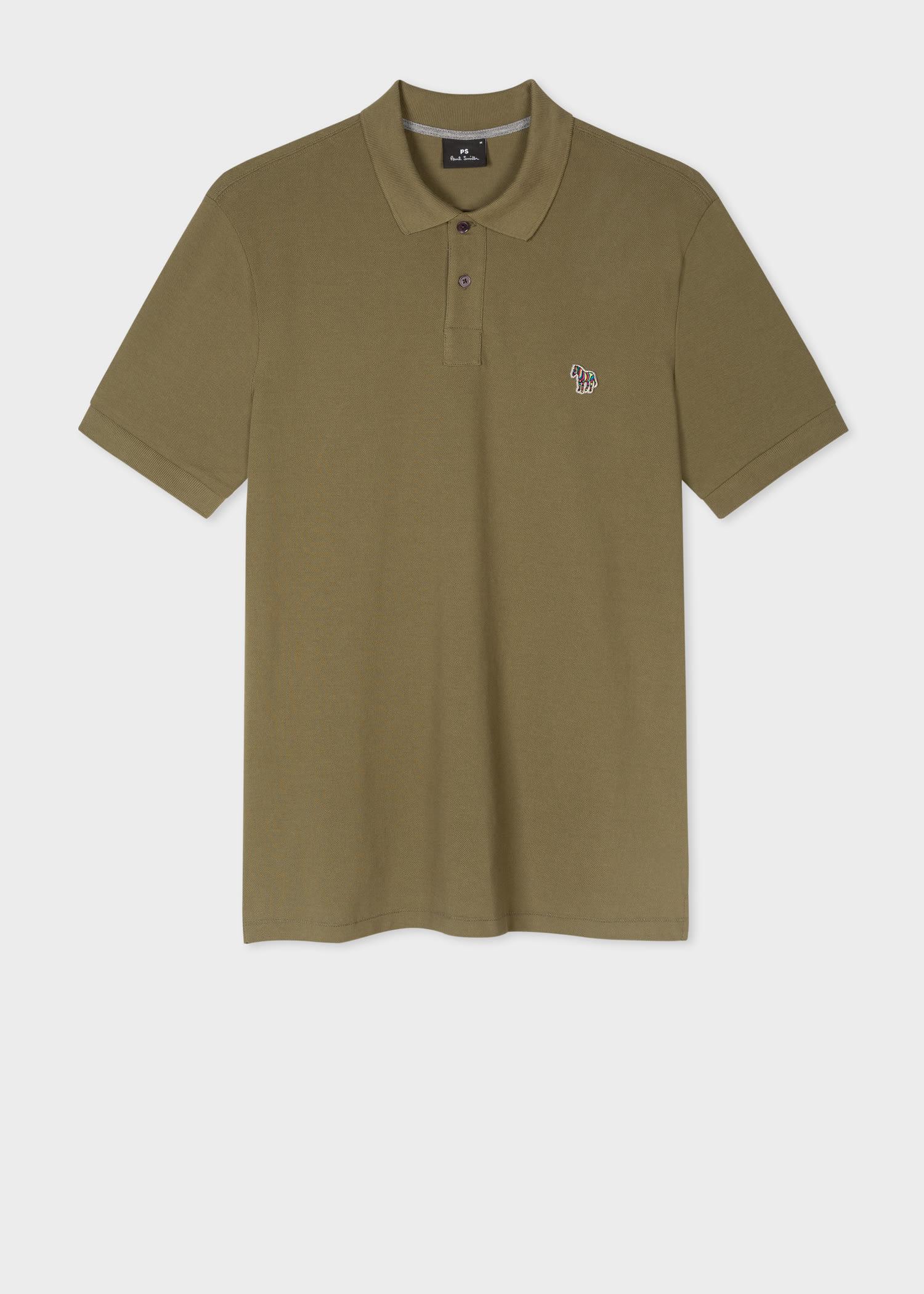 폴 스미스 폴로 셔츠 Paul Smith Mens Khaki Green Organic Cotton-Pique Zebra Polo Shirt