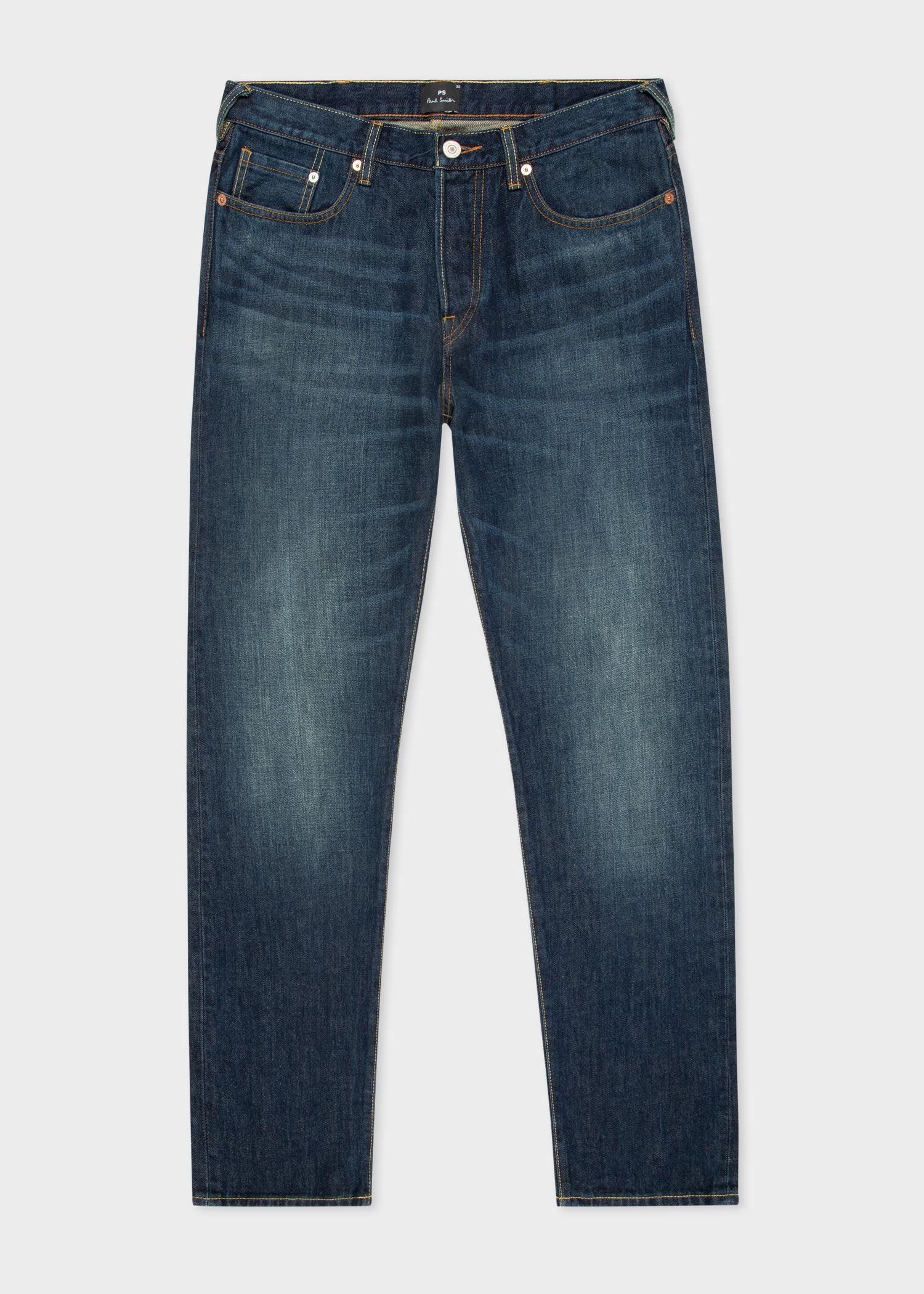 폴 스미스 청바지 Paul Smith Mens Tapered-Fit Dark-Wash Cone Red Selvedge Jeans