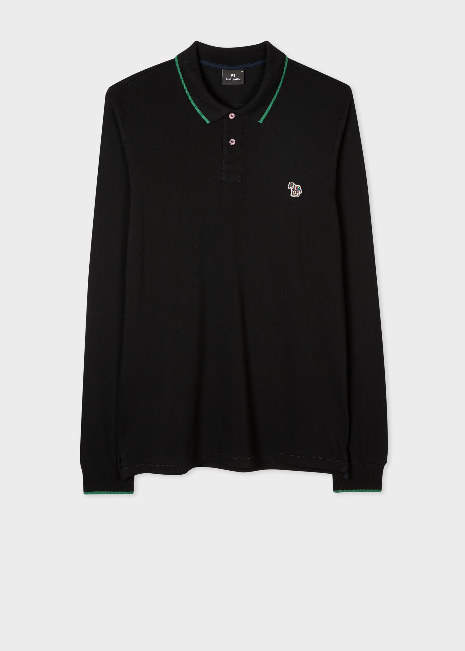 폴 스미스 폴로 셔츠 Paul Smith Mens Slim-Fit Black Long-Sleeve Zebra Logo Polo Shirt