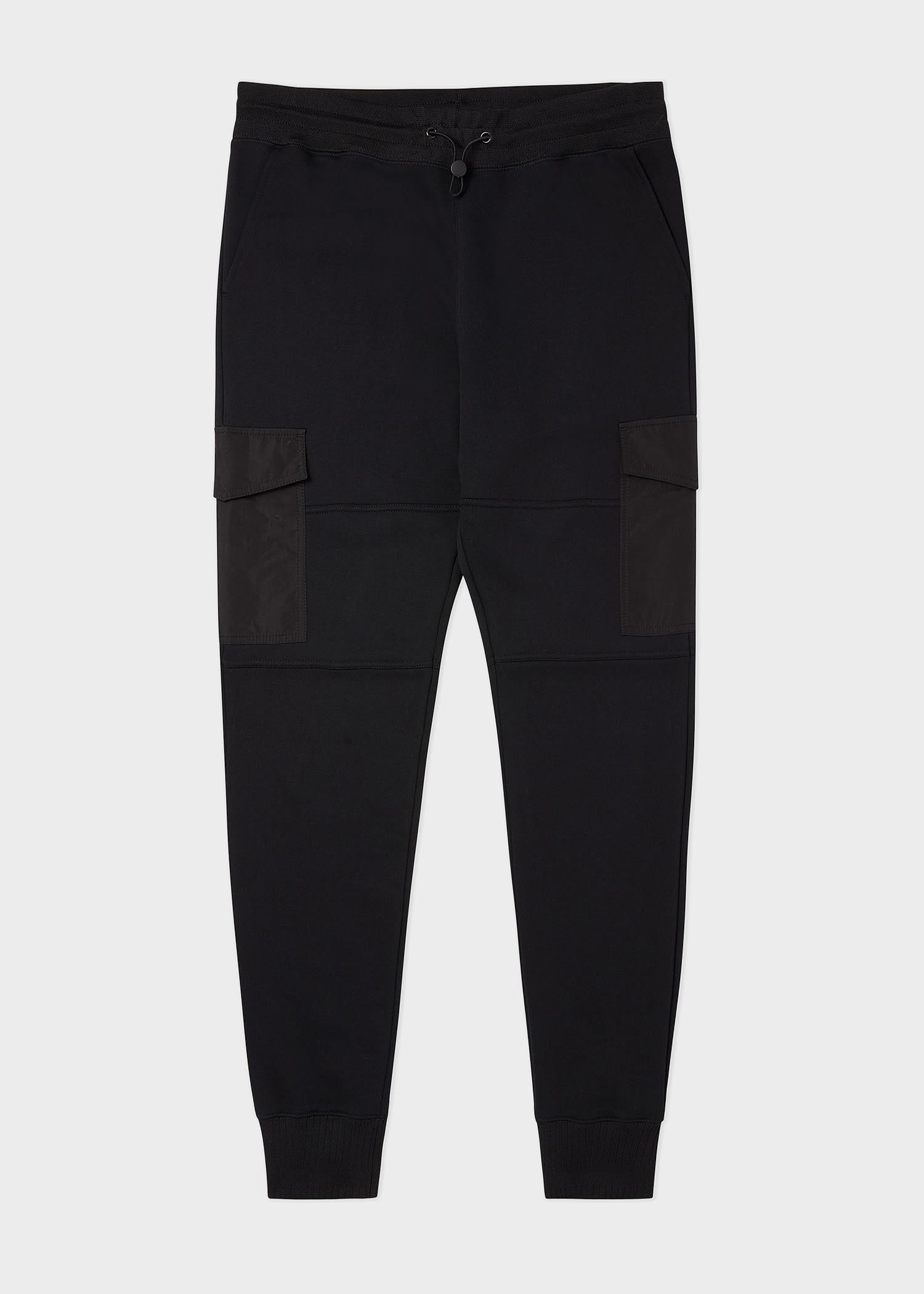 폴 스미스 스웻팬츠 Paul Smith Mens Black Organic Cotton Cargo-Pocket Sweatpants