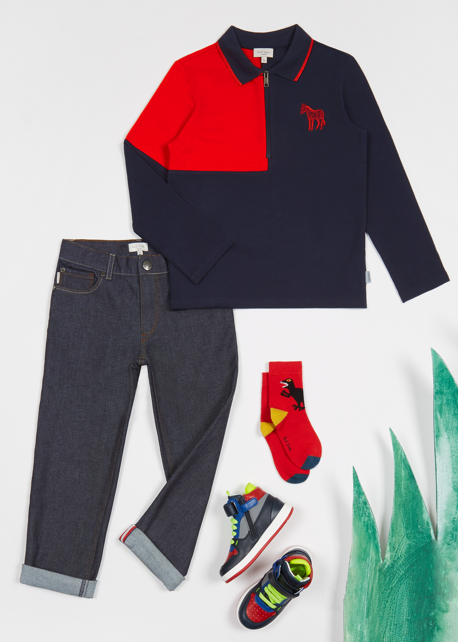 Boys 2 16 Years Navy And Red Long Sleeve Polo Shirt Paul Smith Us