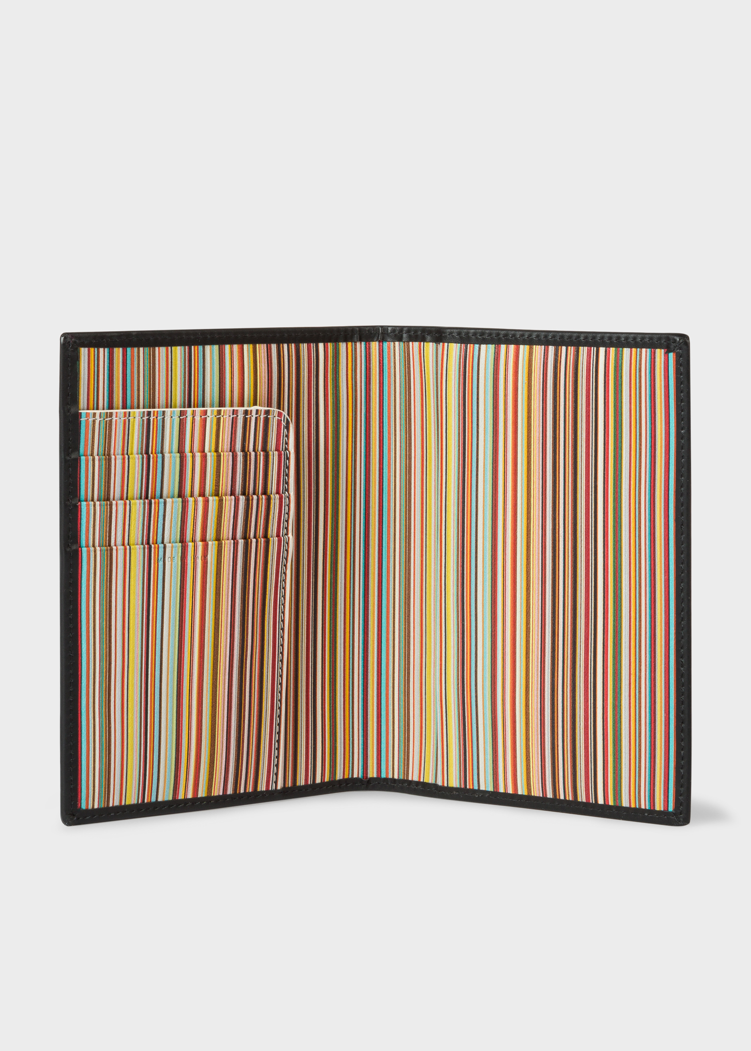 black leather signature stripe interior passport cover paul smith asia