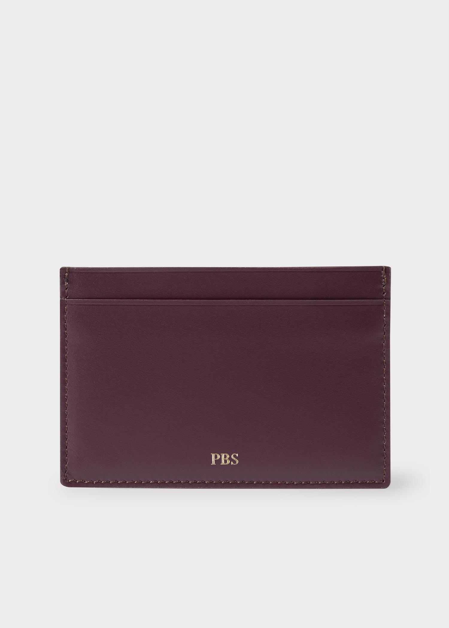 paul smith mens damson leather monogrammed credit card holder - Monogram Card Holder